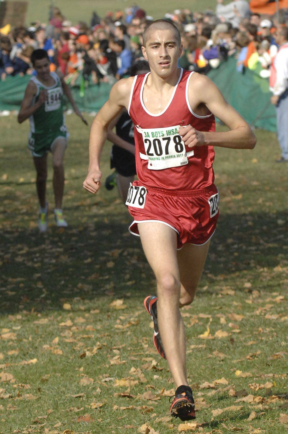 Palatine's Peter Tomkiewicz comes in 11th place with a time of 14:43 in the 3A state cross country final.