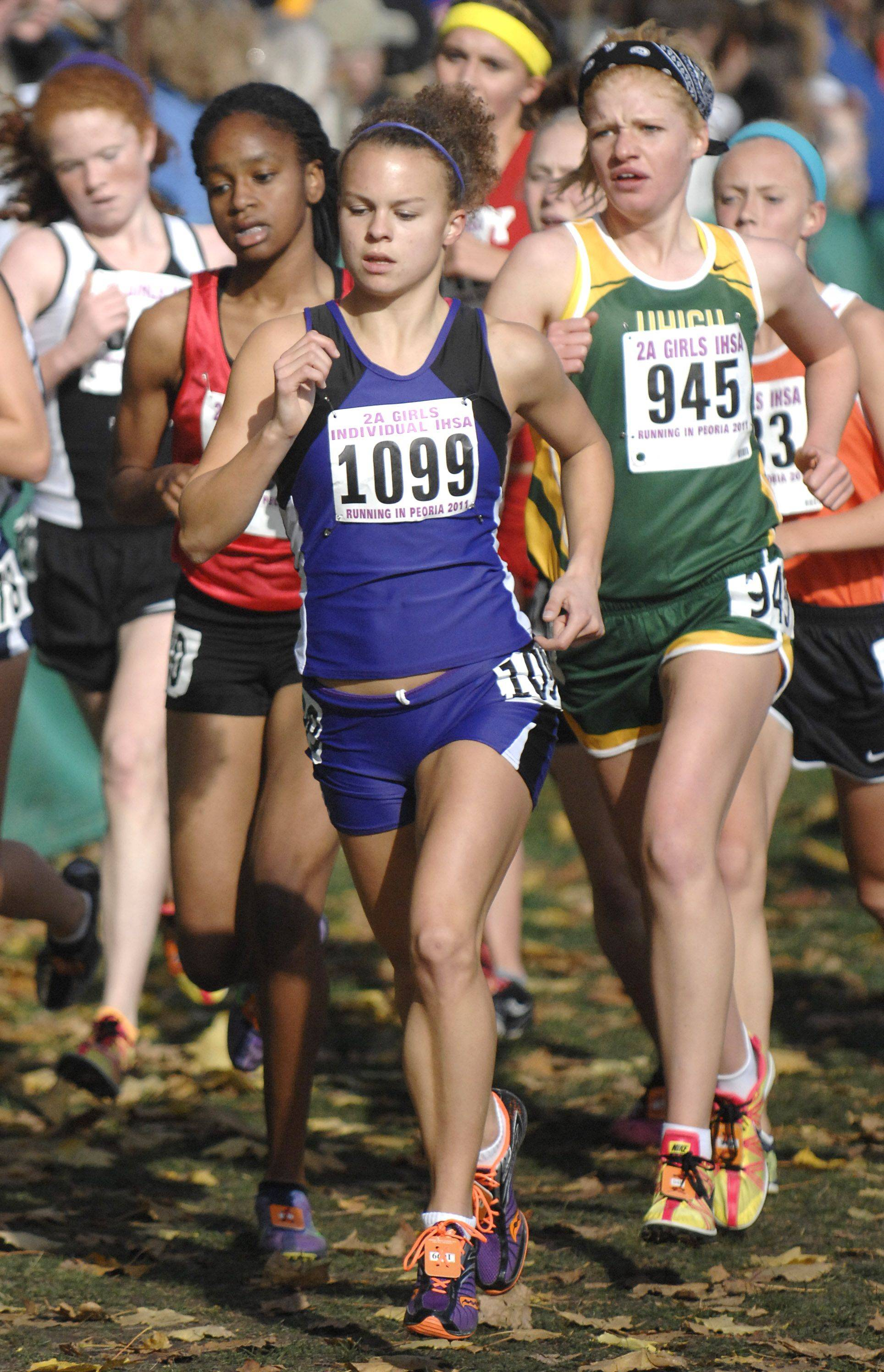 Hampshire's Cassie Kruse at the state cross country 2A final. Kruse took fourth place with a time of 17:21.