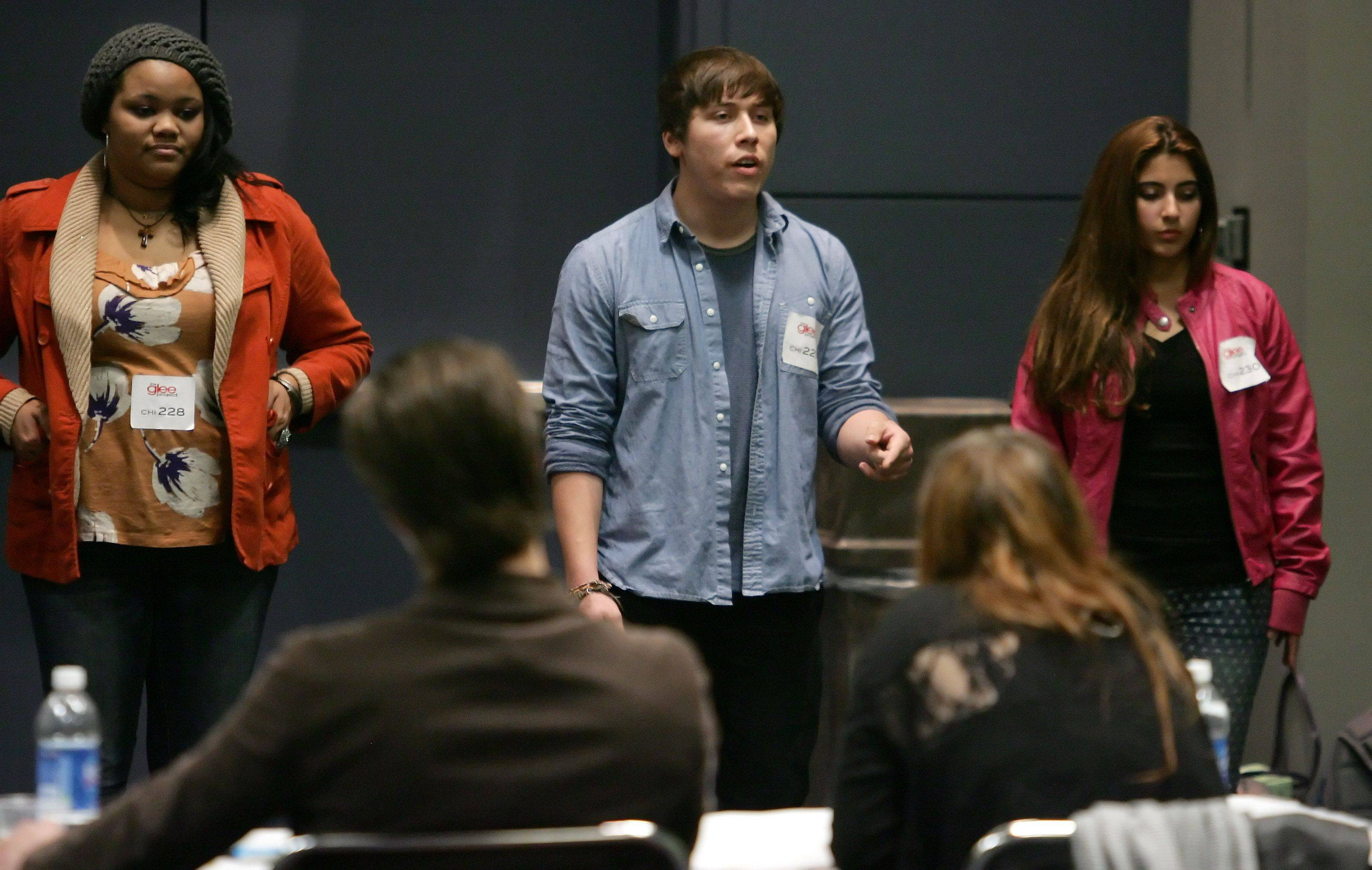 "Alex Makris of Elk Grove Village sings in front of judges during tryouts for the reality series ""The Glee Project"" Sunday at McCormick Place in Chicago. The competition offers contestants a chance to win a part on the award winning FOX television show ""Glee."""