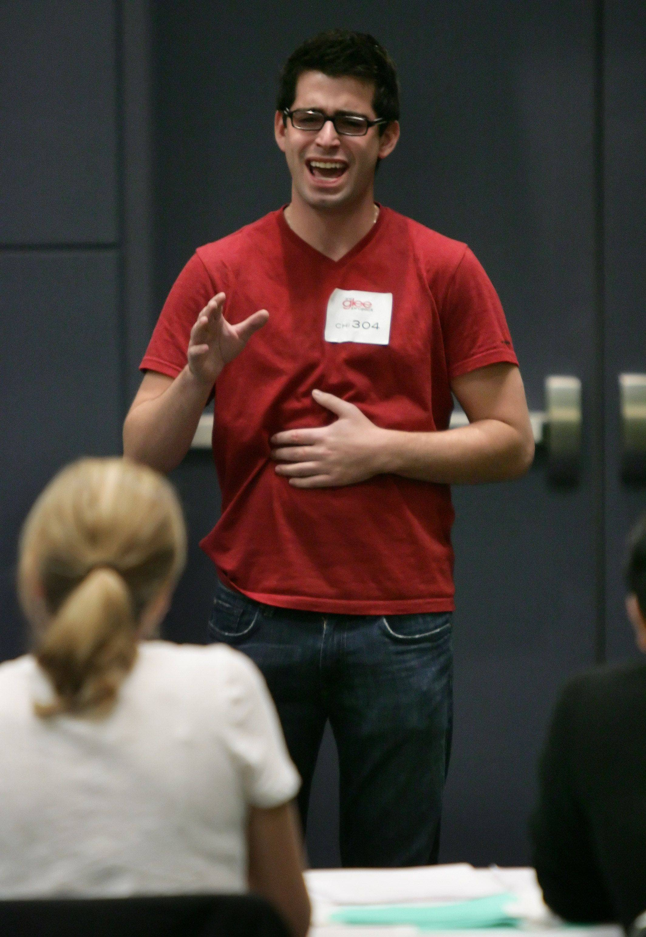 "Jake Feeny of Vernon Hills sings during tryouts for the reality series ""The Glee Project"" Sunday at McCormick Place in Chicago. The competition offers contestants a chance to win a part on the award winning FOX television show ""Glee."""
