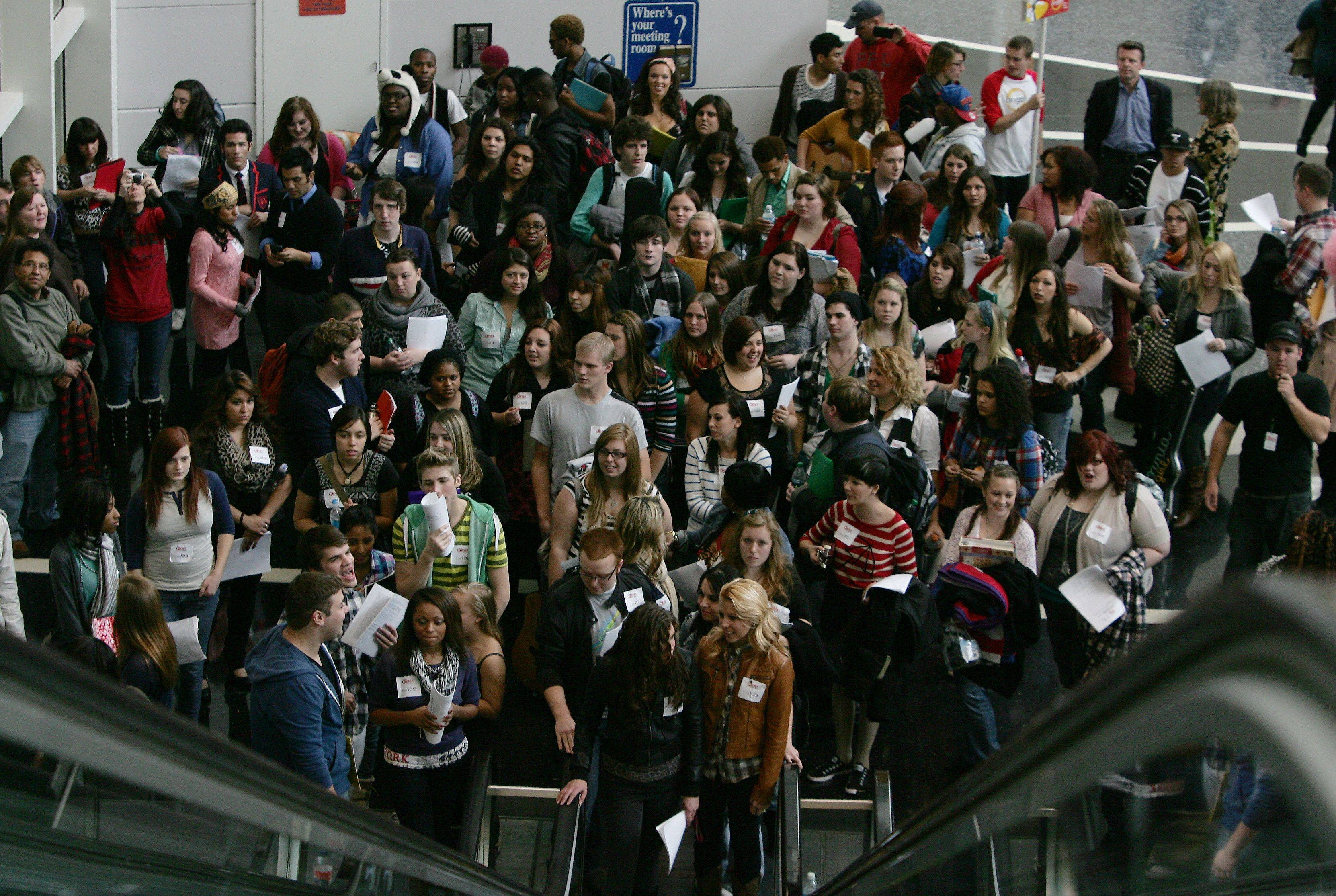 "A crowd gathers for the start of the tryouts for the reality series ""The Glee Project"" Sunday at McCormick Place in Chicago. The competition offers contestants a chance to win a part on the award winning FOX television show ""Glee."""