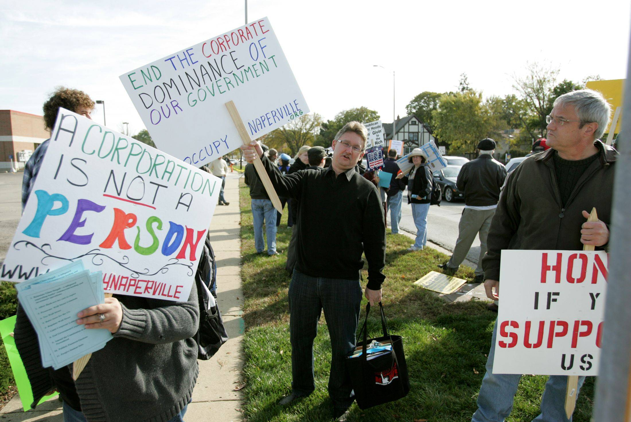 Occupy Naperville launched it first protest Oct. 22, complaining about the distribution of wealth and corporate influence on politicians.