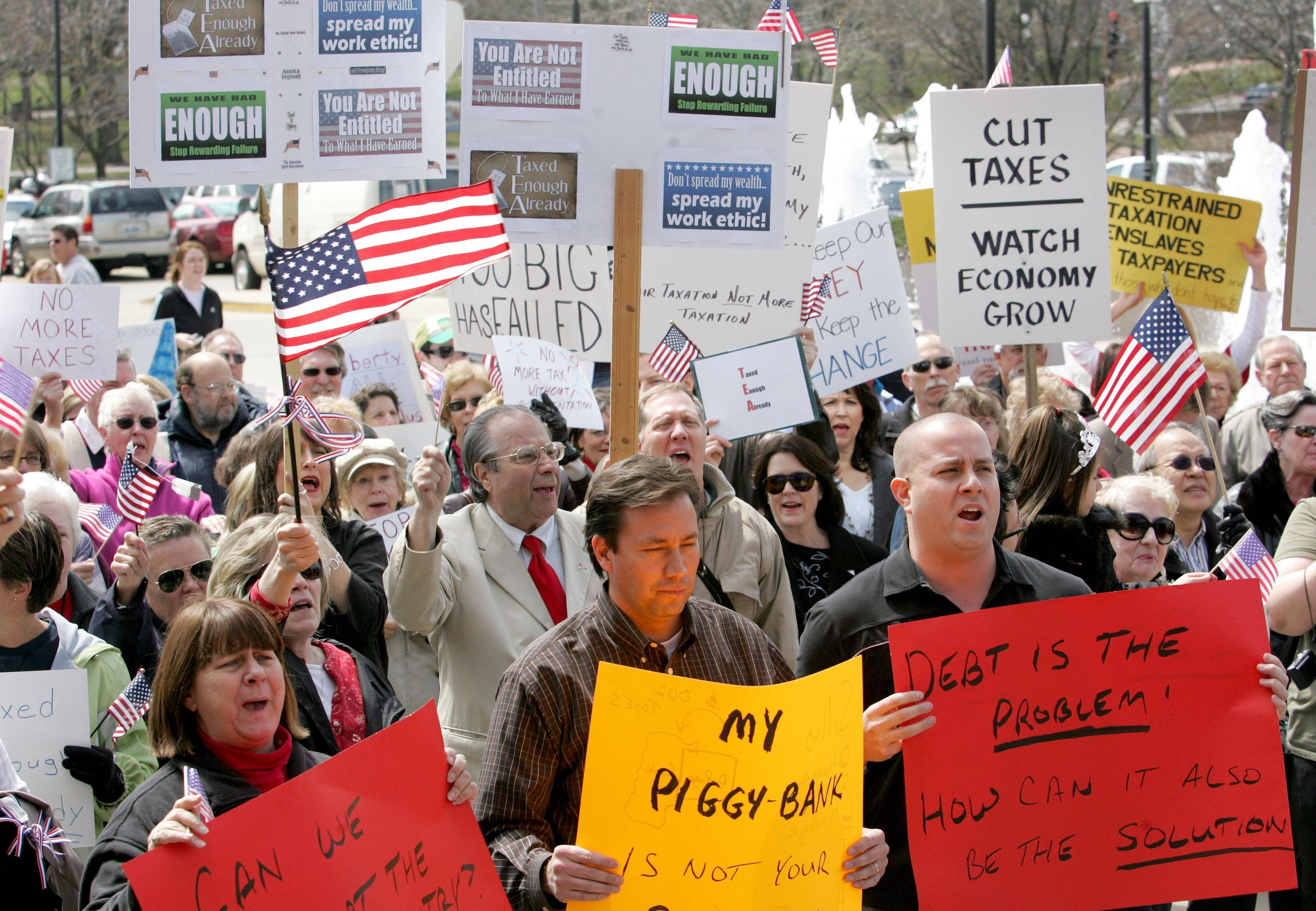 A 2010 anti-tax rally at the Naperville Municipal Center.