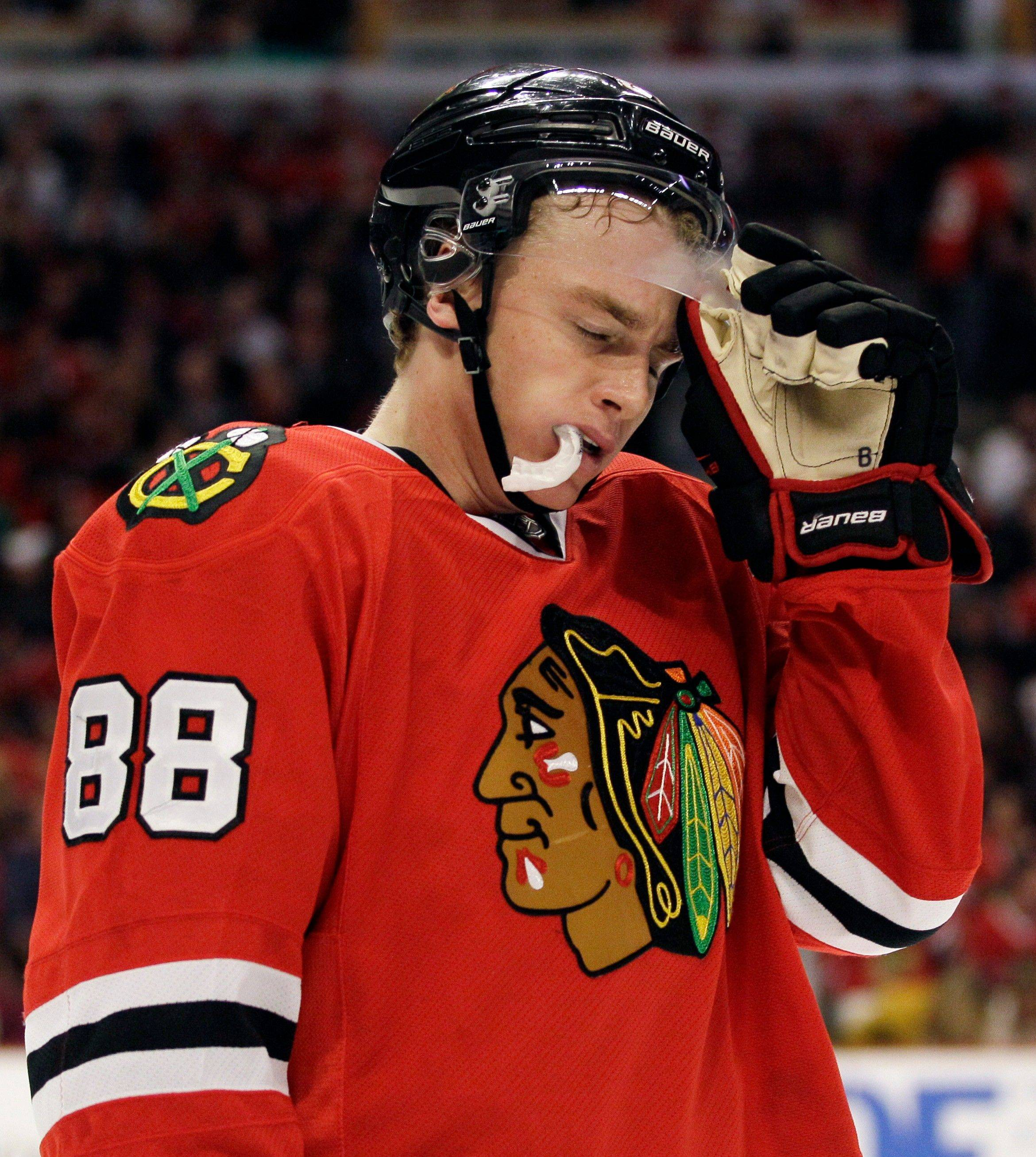 Patrick Kane's facial expression speaks volumes about the Hawks' performance Sunday against the Canucks.