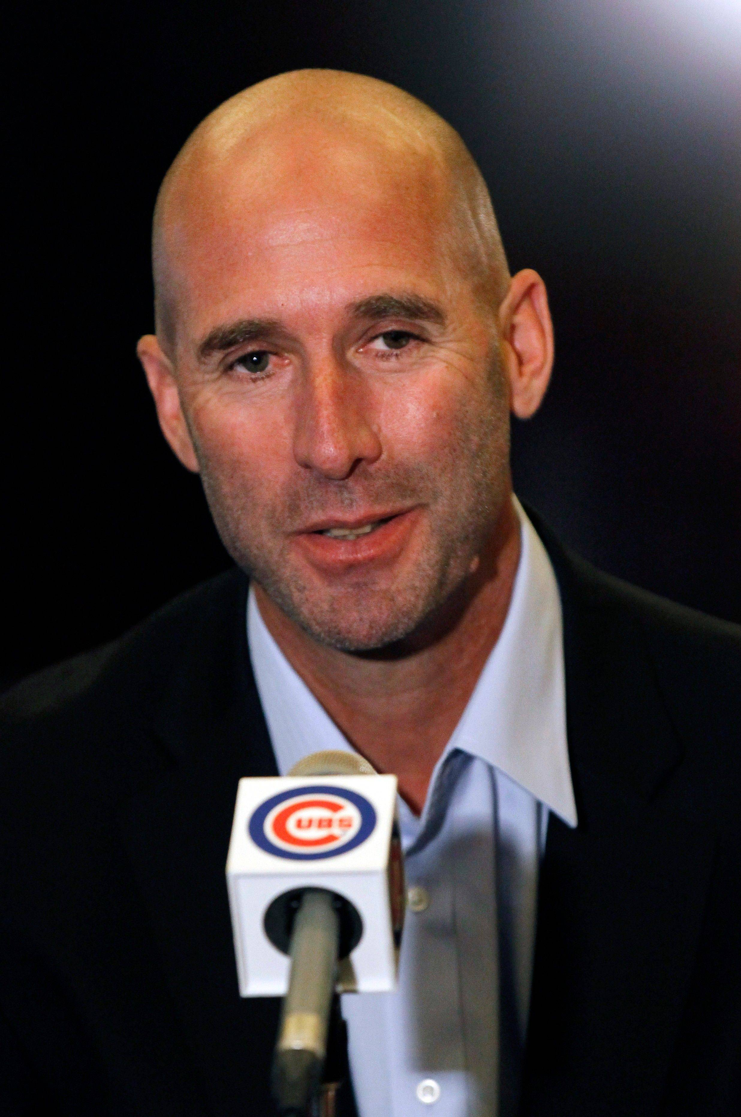 Milwaukee Brewers hitting coach Dale Sveum appears at a news conference after his interviews for the Cubs manager's job Monday at Wrigley Field.