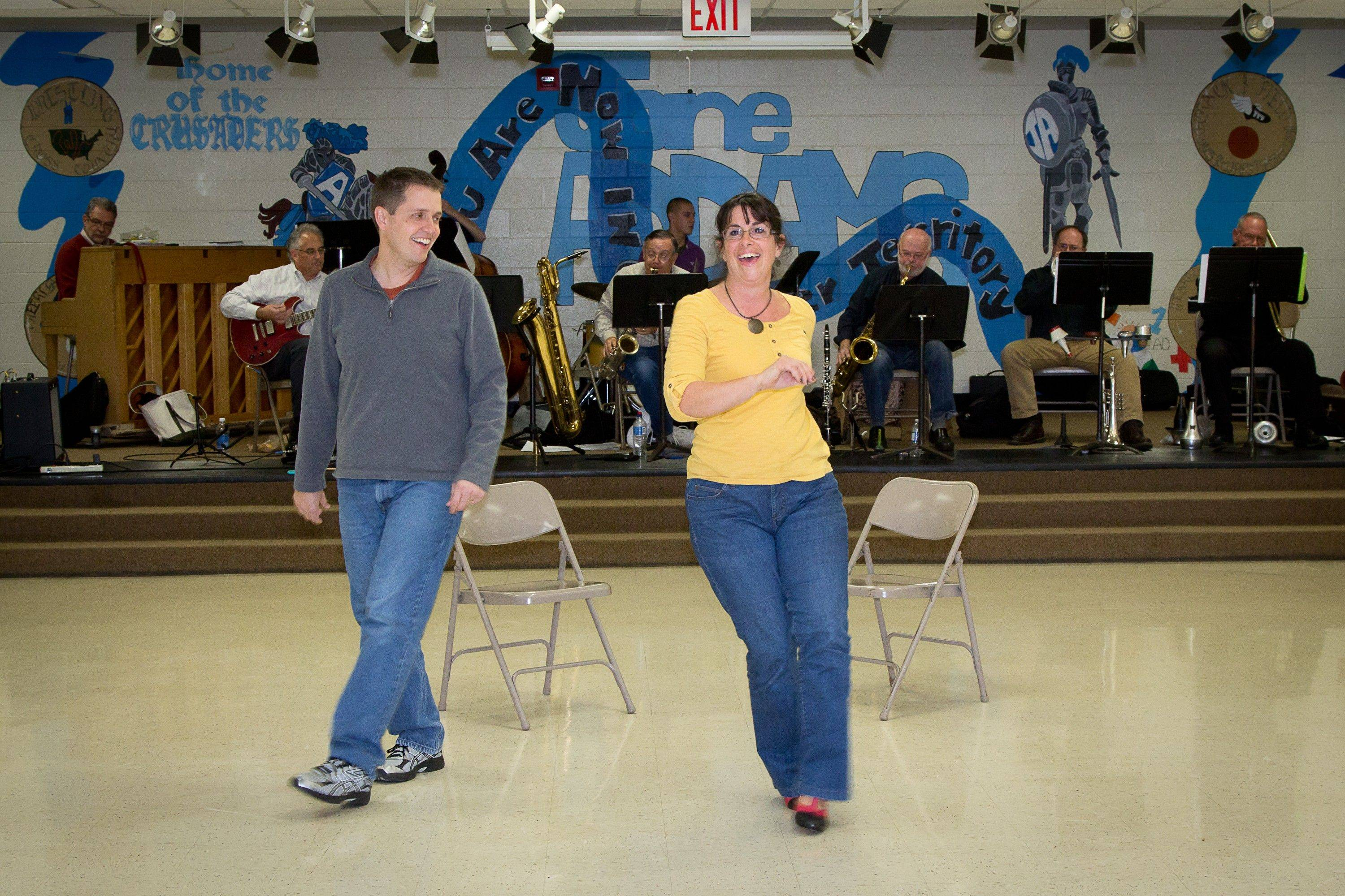 "Vocal director David Luzwick, of Hanover Park, and Michelle Pilafas of Hoffman Estates rehearse Duke Ellington's ""Bli Blip."""
