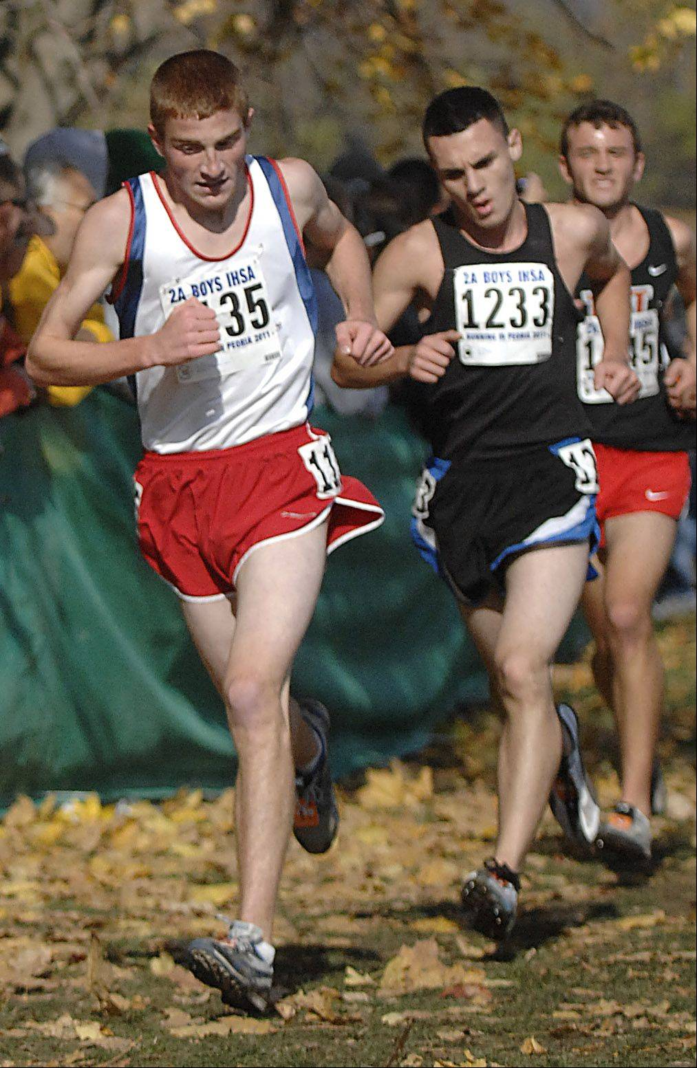 St. Viator's Kevin Schreiber competes in the 2A state cross country final in Peoria on Saturday.