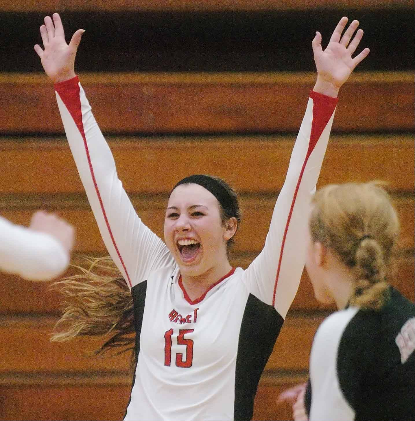 Hannah Kaminsky of Benet reacts to a point against Plainfield Central during Thursday's volleyball sectional final in Aurora,