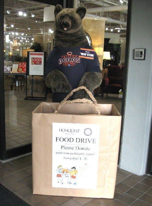 Through Sunday, Nov. 20, collection bins will be provided at the front of Honquest Furniture for Living, 1455 S. Barrington Road, Barrington, for nonperishable food donations to benefit the Palatine Township food pantry.