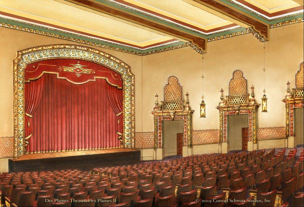 A 2005 rendering of what the Des Plaines Theatre might look like fully restored. The theater reopens this weekend after being closed for more than a year of renovations.