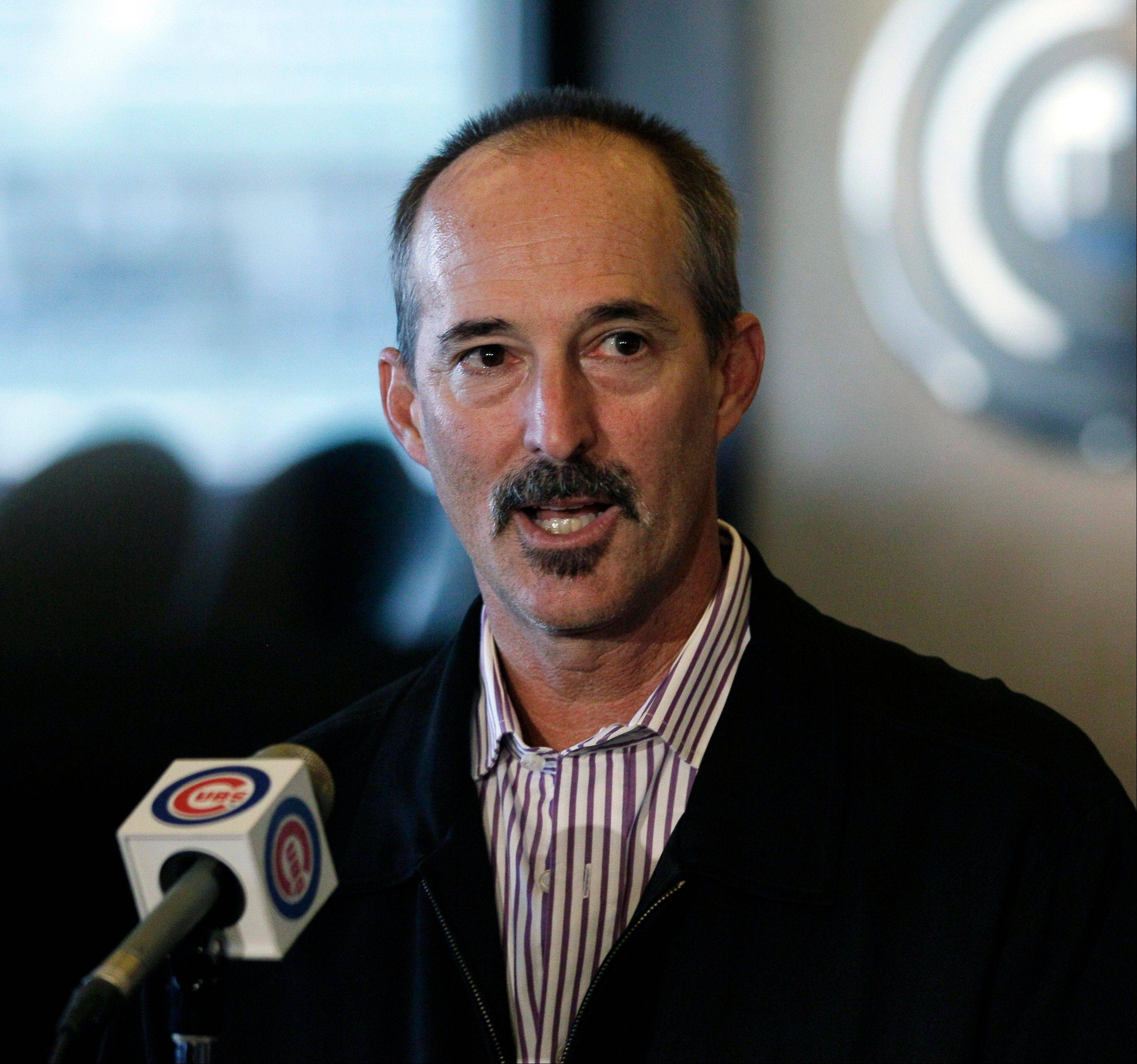 Texas Rangers pitching coach Mike Maddux speaks at a news conference following his interview for the manager position with the Cubs at Wrigley Field.