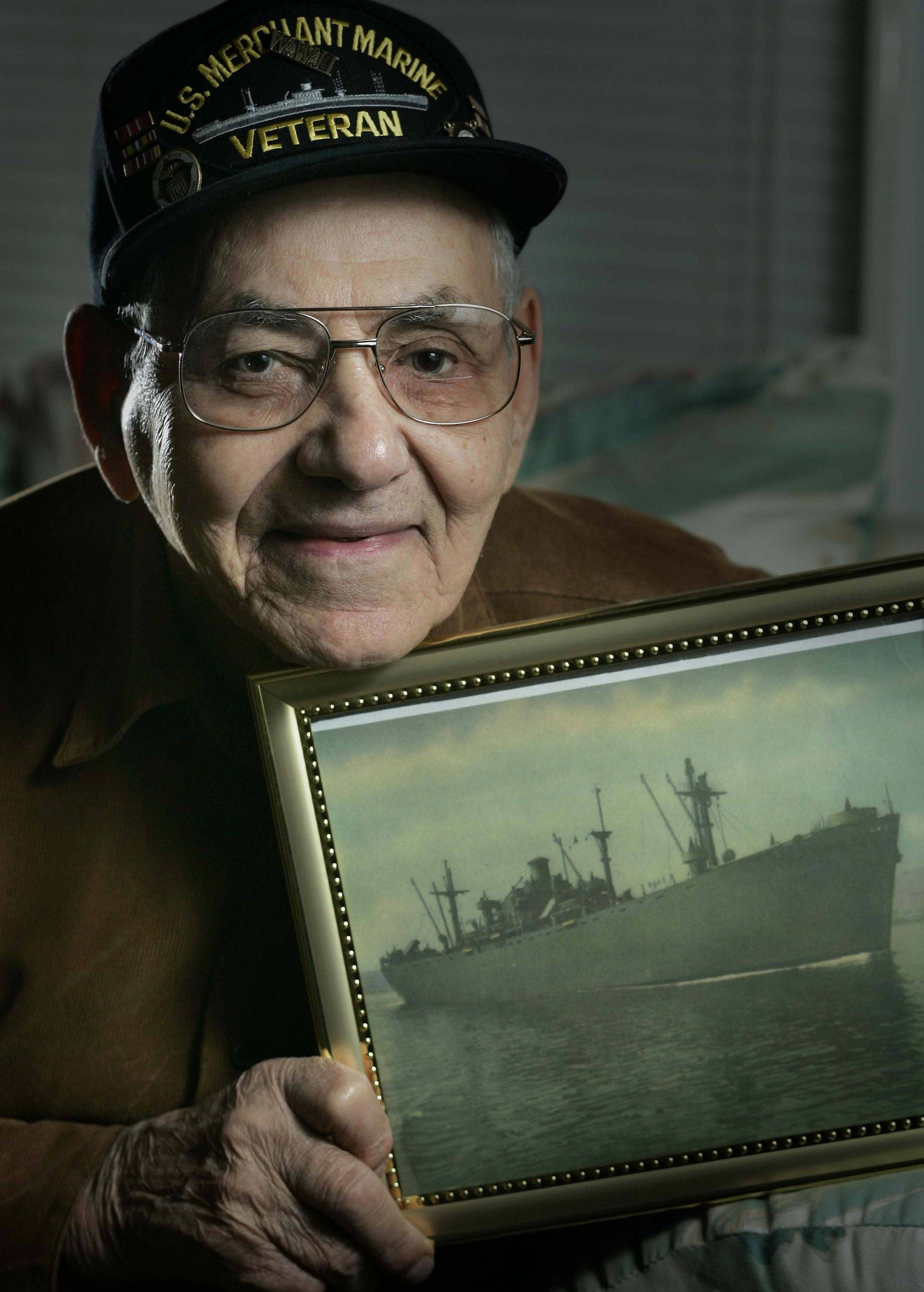 Mike Natale of Elgin signed up for the Merchant Marine when he was just 15 using a phony birth certificate. That landed him square in the middle of World War II. He served until 1948. Natale, who spent some time on this Henry Longfellow boat which is pictured, worked as a carpenter after life as a merchant mariner.