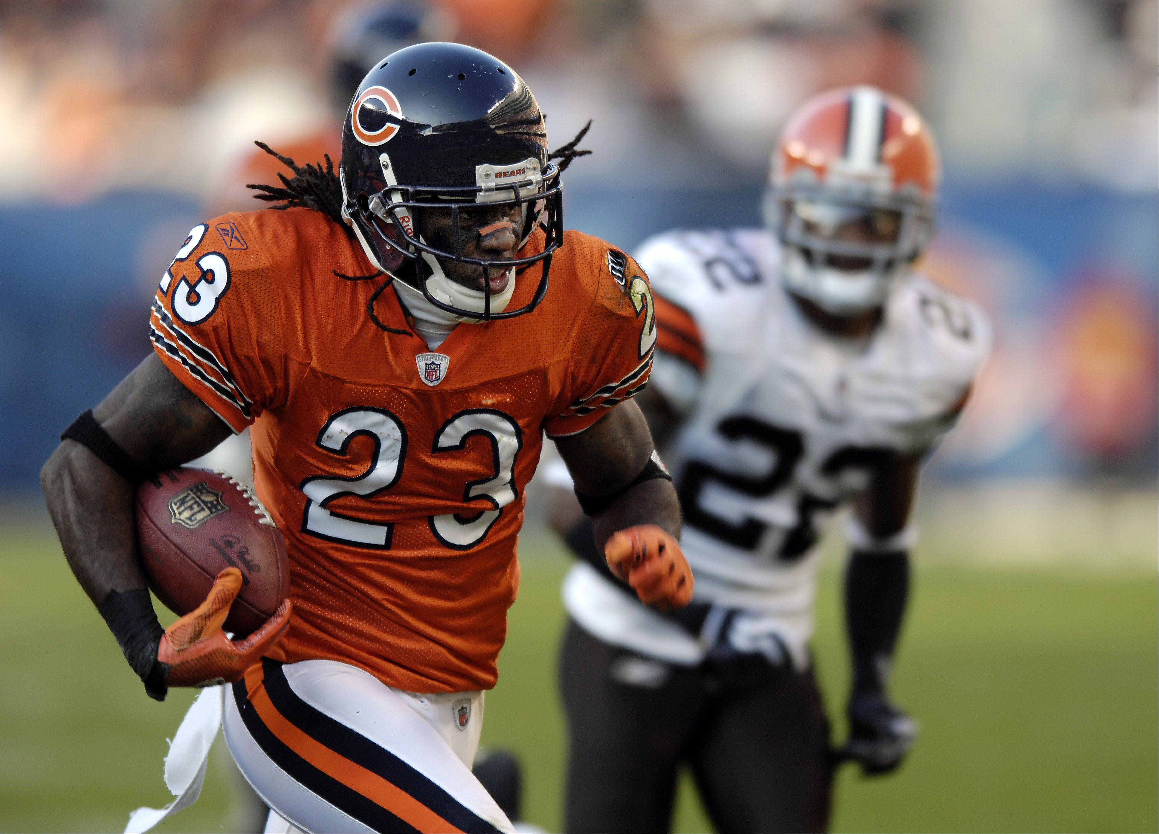 Mark Welsh/mwelsh@dailyherald.com  The absence of Devin Hester will hurt the Bears' return teams Sunday at Solider Field against the Lions.