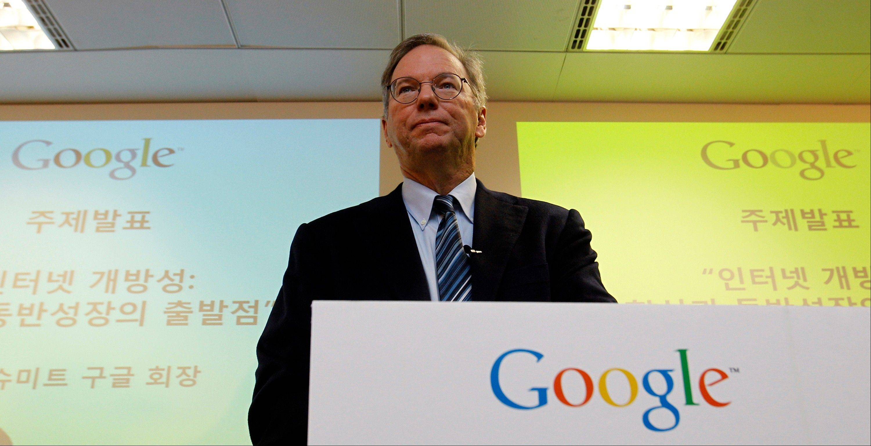 Google chairman Eric Schmidt speaks to the media during a news conference at Google Korea office in Seoul, South Korea, where he defended Google as a great innovator despite Steve Jobs allegations that the Internet search giant stole innovations from the iPhone.