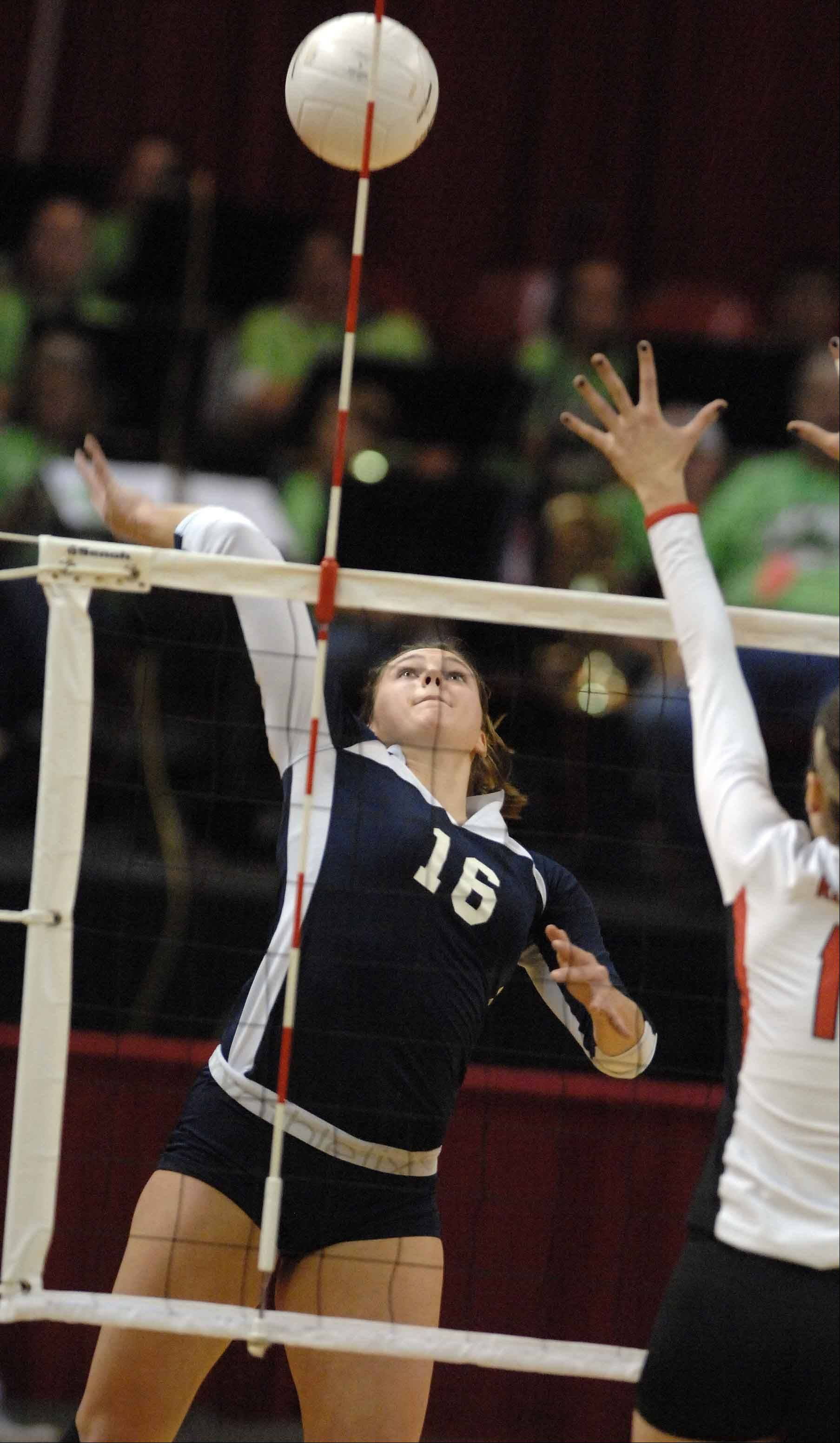 Cary-Grove's Ashley Rosch sets up a hit in the Class 4A volleyball championship in Normal Saturday.