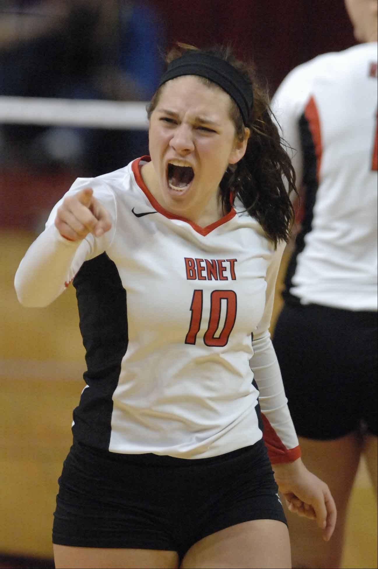 Benet vs. Cary in the Class 4A volleyball championship in Normal Saturday.