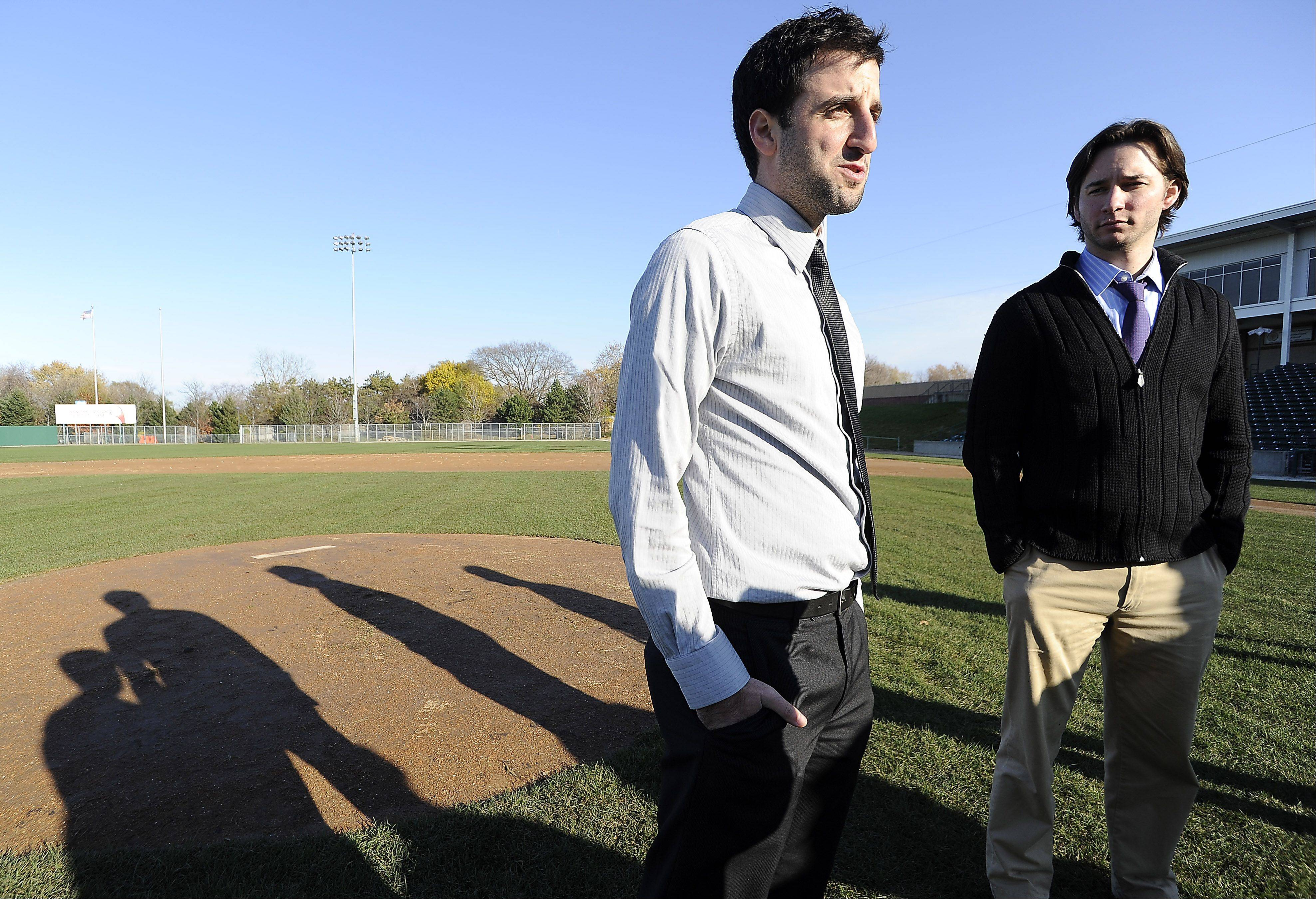 Andy Viano, president and general manager of the Schaumburg Boomers baseball team, and Dave Salvi, vice president of marketing and promotions, check out the new turf grass on the field and talk about the upcoming season.