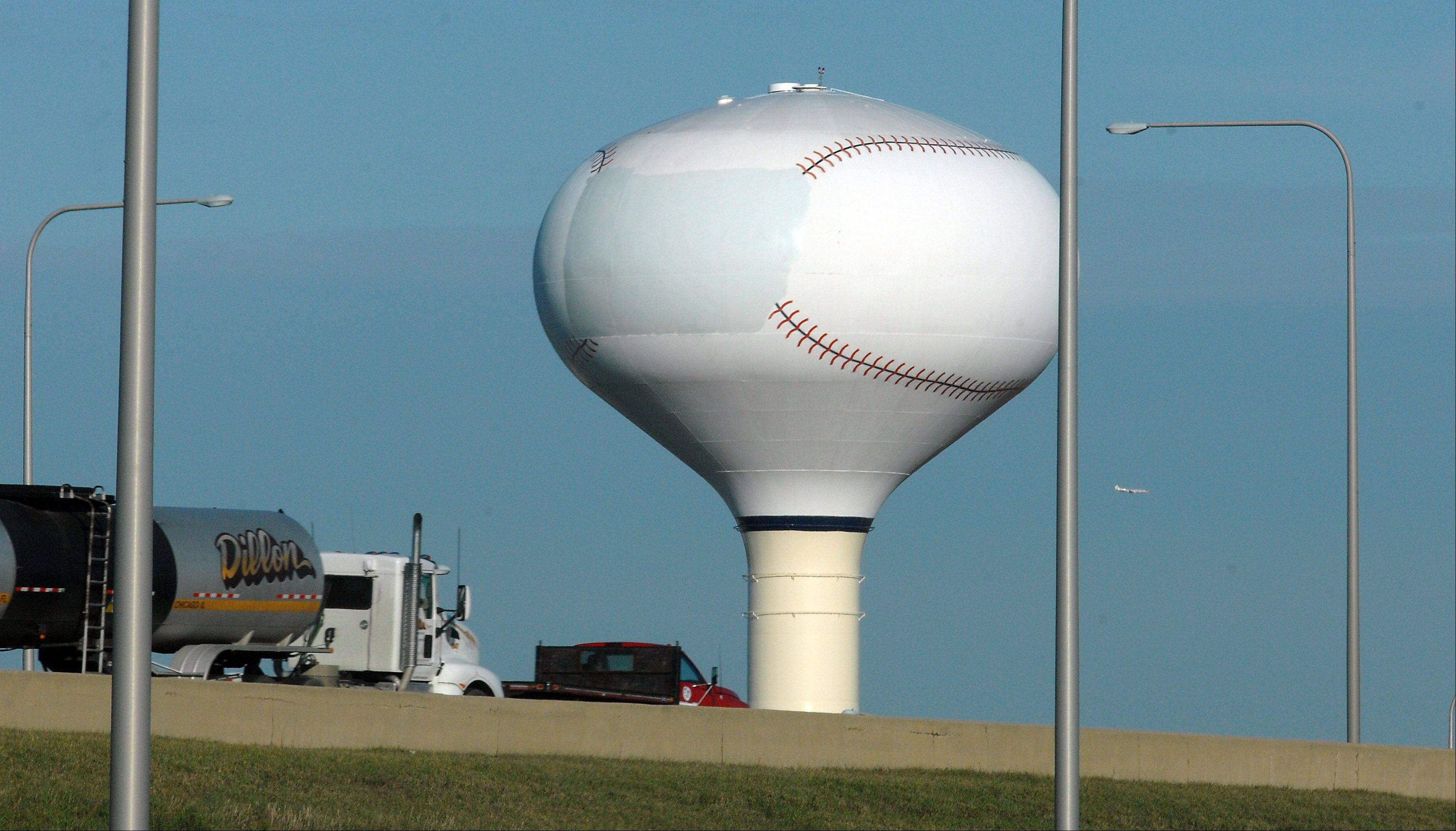 The Schaumburg Flyers name has been erased from the Schaumburg water tower near the baseball stadium and likely will be replaced with the Boomers name in the spring.
