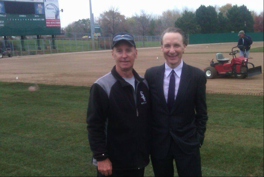 "White Sox head groundskeeper Roger Bossard, aka ""The Sodfather,"" left, with Schaumburg Boomers owner Pat Salvi during the start of renovations to the playing field at the Schaumburg baseball stadium."