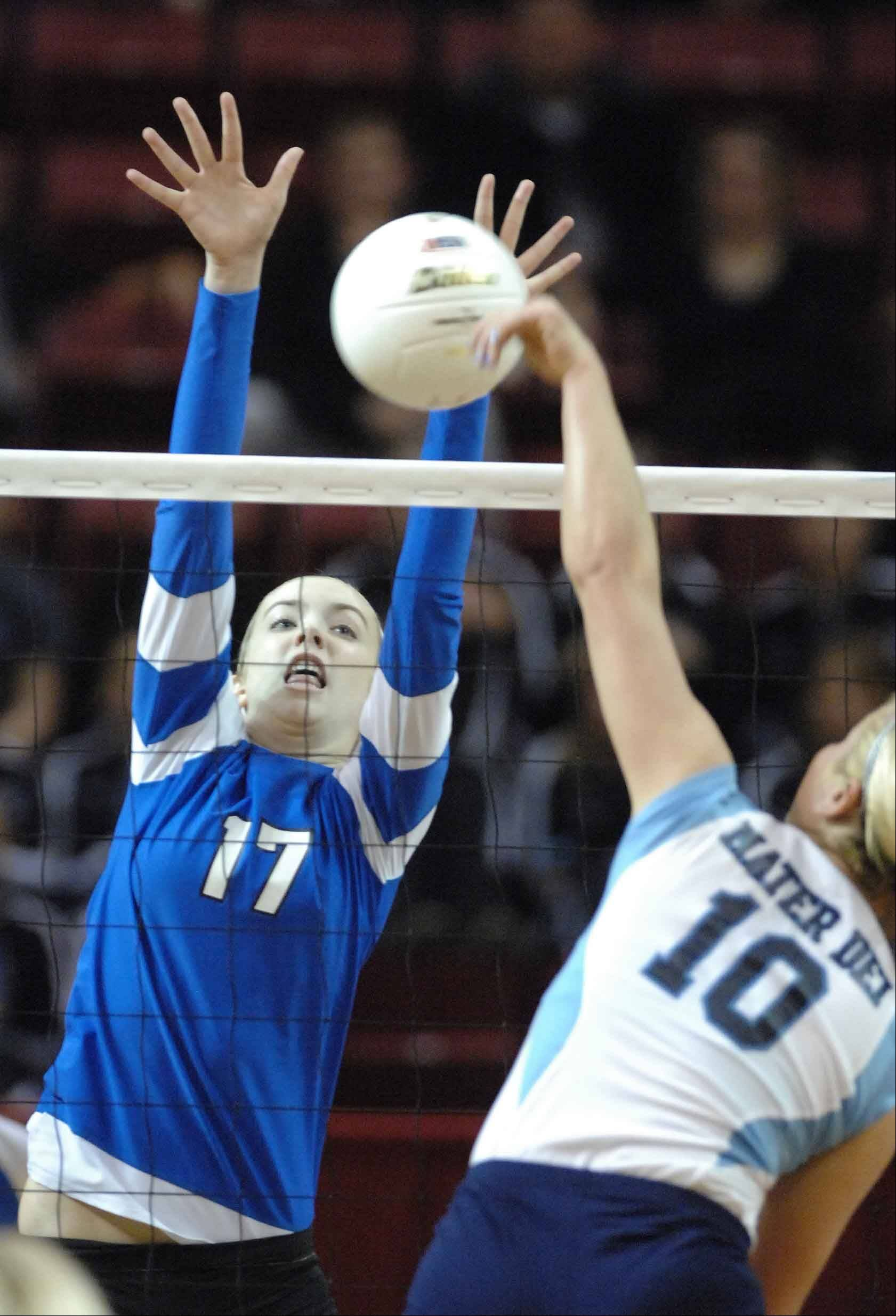 Mary Boken goes up for a block during the St. Francis vs. Breese Mater Dei girls volleyball 3A semifinal Friday in Normal.