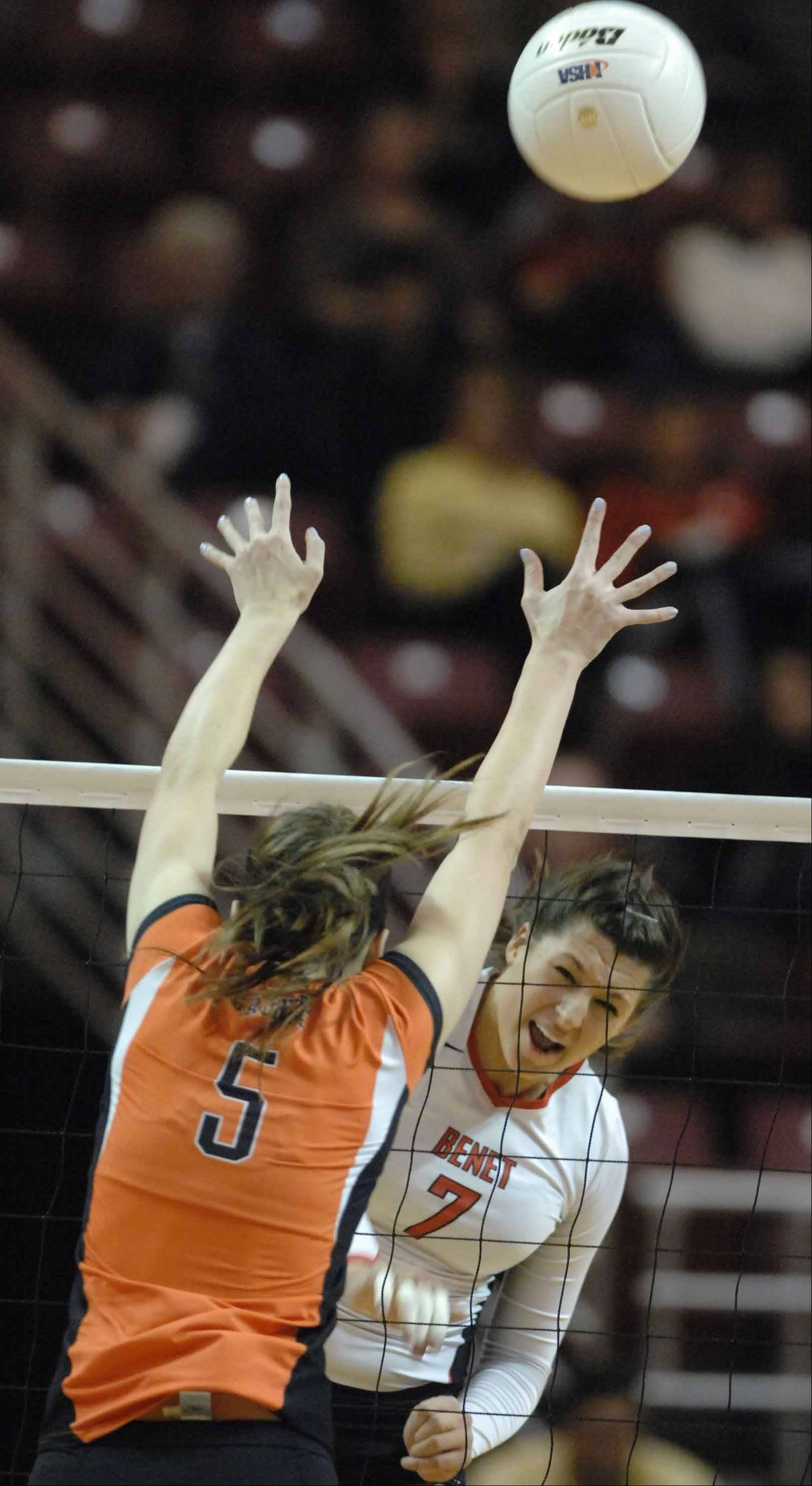 Benet vs. St. Charles East girls state volleyball 4A semifinal action Friday in Normal.