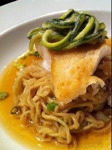 Seared Halibut with Fresh Ramen and Sweet/Sour Pickled Zucchini Slaw