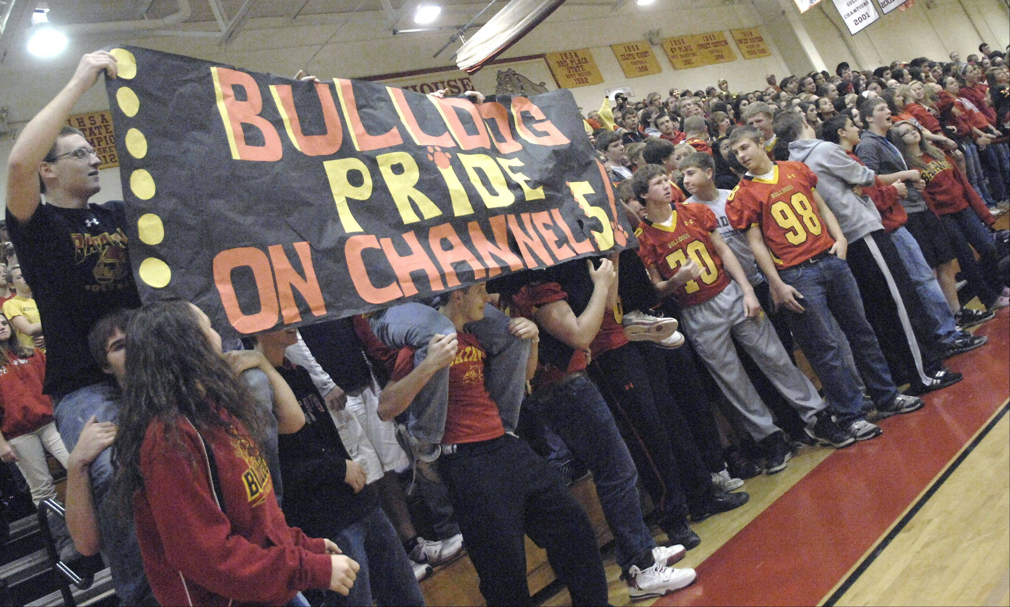 "Batavia High School students dance Friday as they wait to go live on NBC5's morning news program. The TV station picked the school as its ""Prep Destination of the Week."""