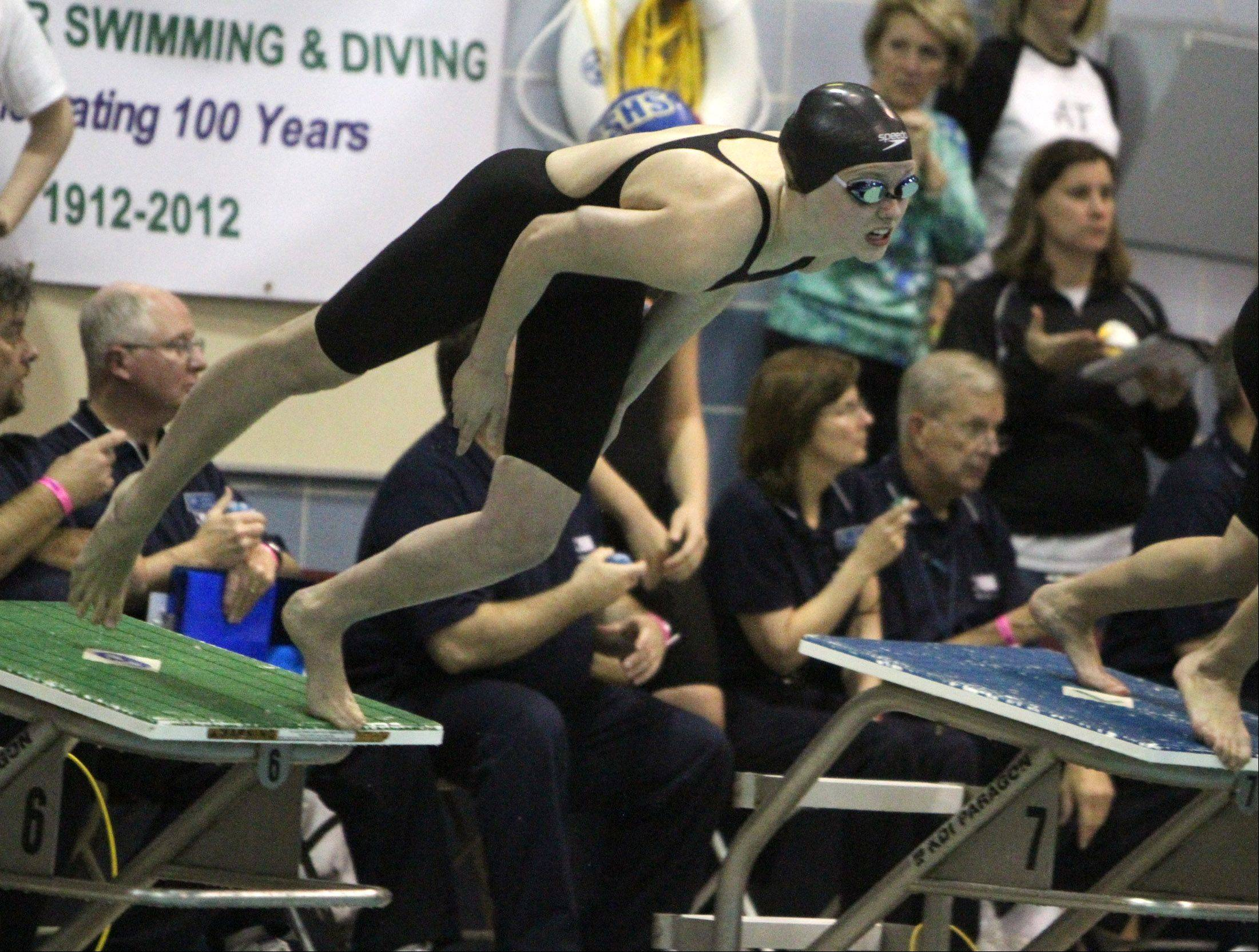 Buffalo Grove's Veronika Jedryka finished the 100-yard freestyle in 52.76 at the state meet preliminaries in Winnetka on Friday.