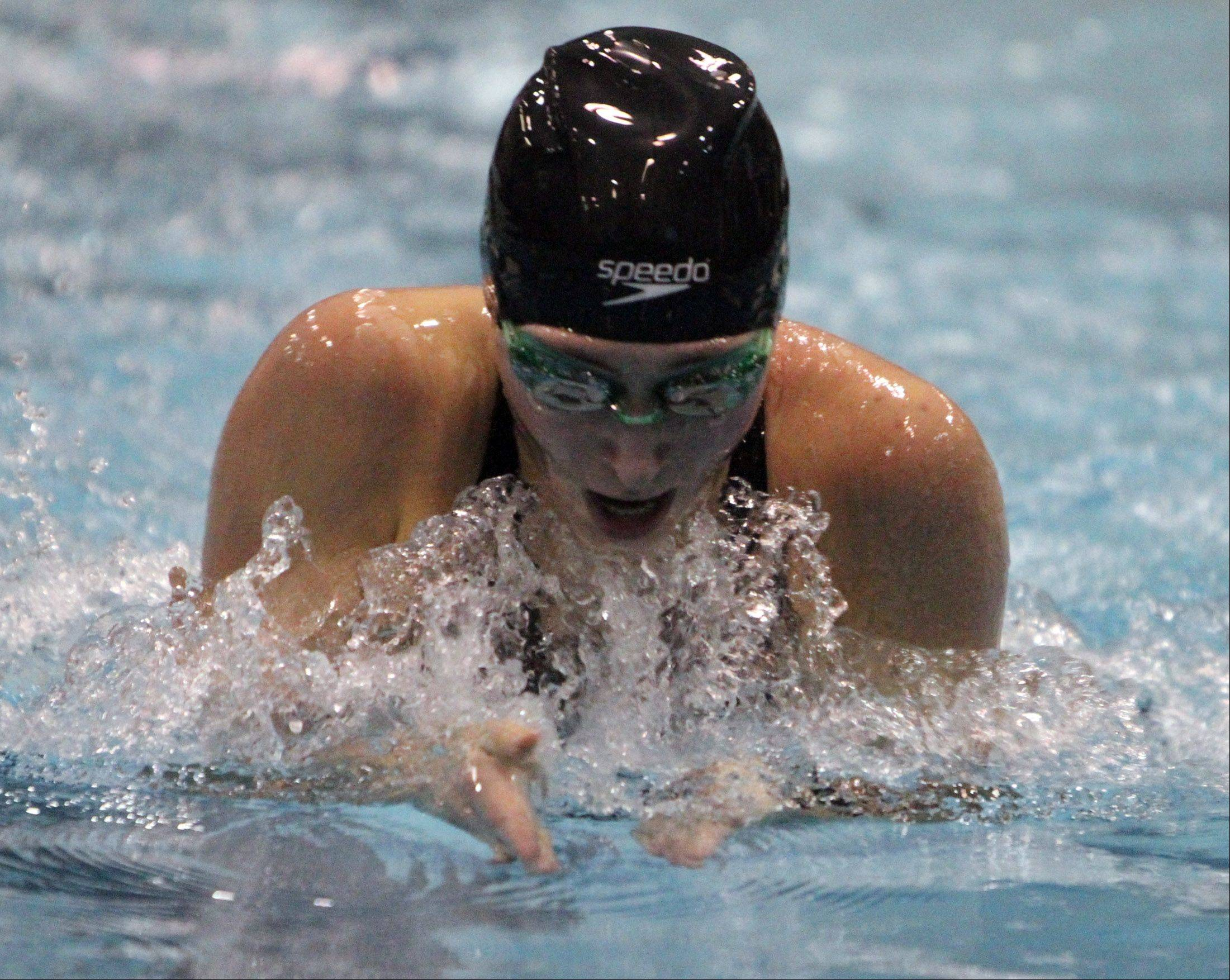 Stevenson's Michelle Hannon competes in the 200-yard individual medley at the state meet preliminaries in Winnetka on Friday.