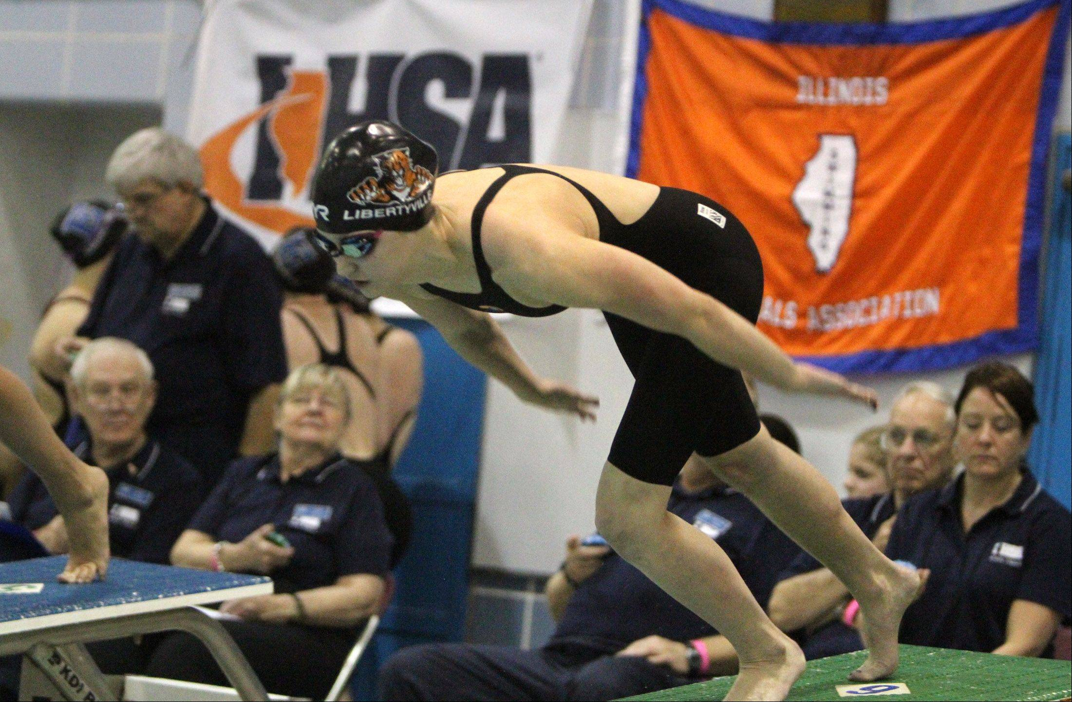 Libertyville's Morgan Dickson finished third in the 500-yard freestyle with a time of 4:55.64 in the state meet preliminaries in Winnetka on Friday.