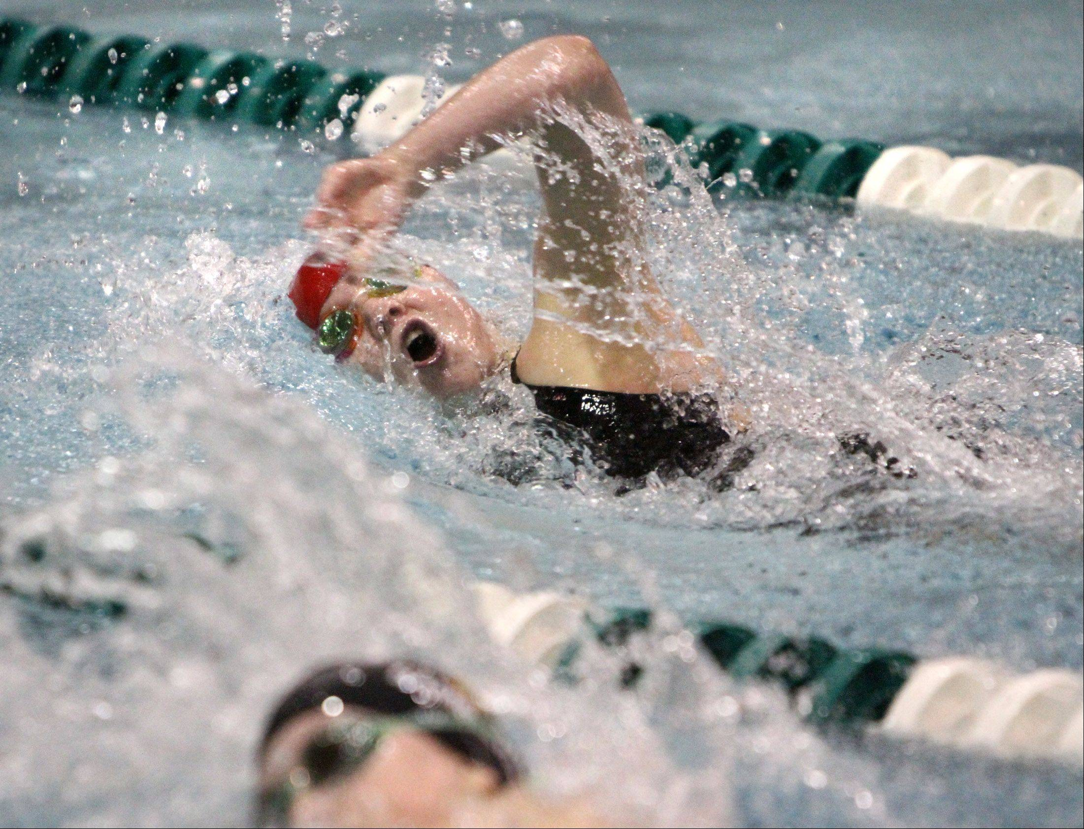 Mundelein's Erin Falconer qualified 10th in the 100-yard freestyle in :52.38 at the state meet preliminaries in Winnetka on Friday.