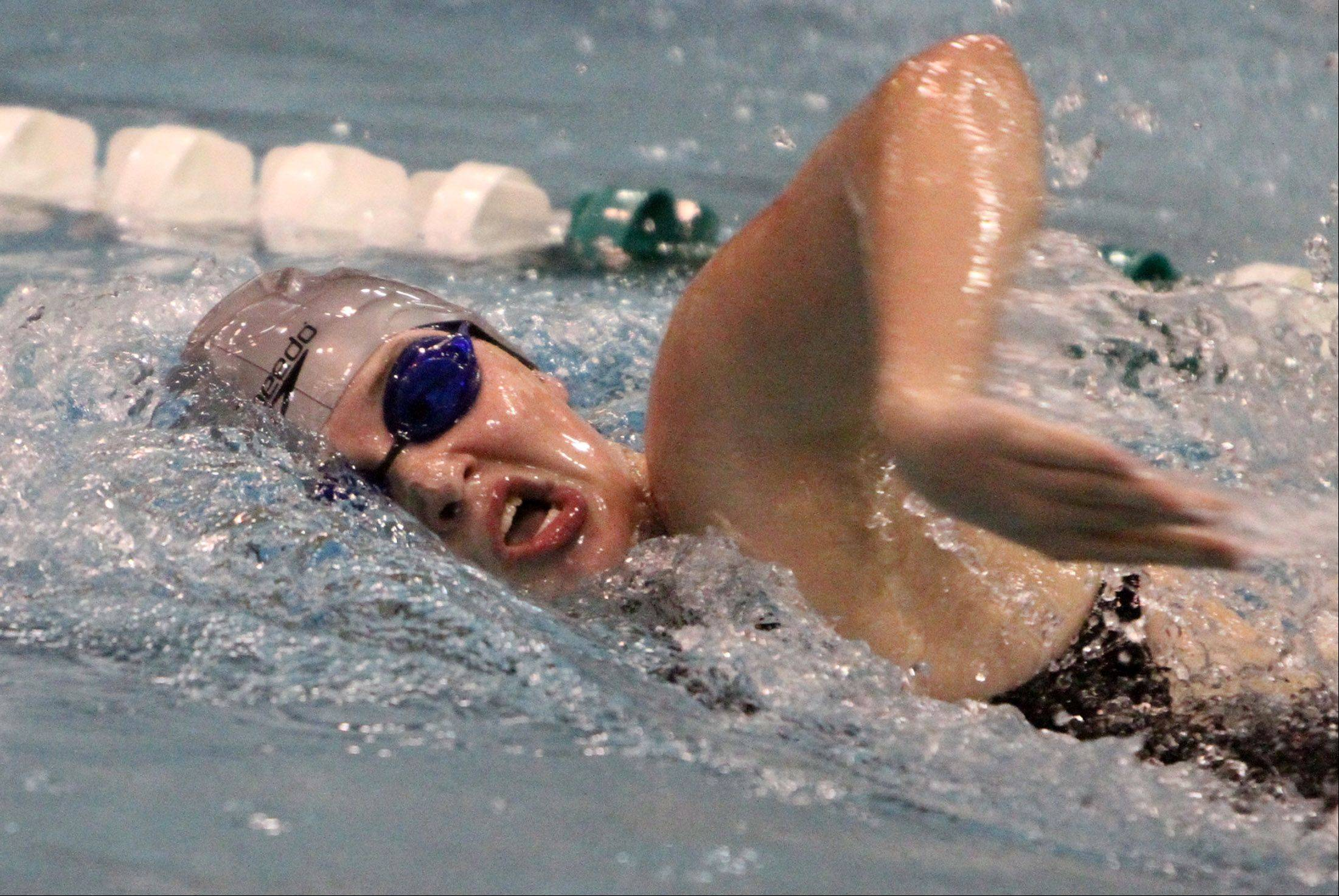 Cary-Grove's Lauren Curtis competes in the 200-yard freestyle at IHSA state final preliminaries in Winnetka on Friday, November 18th.