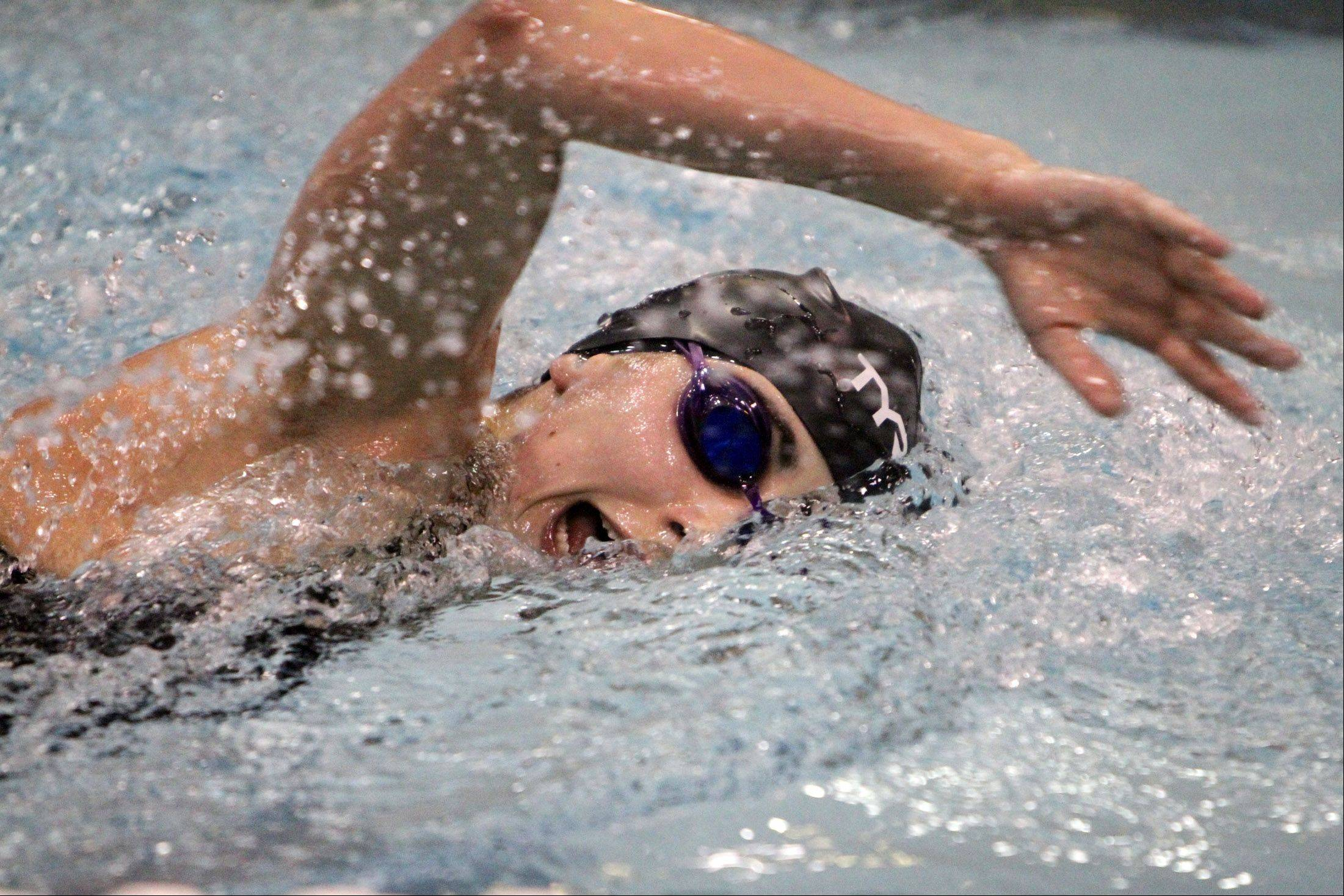 Naperville Central's Julia Roller finished fourth in the 500-yard freestyle with a time of 4:57.39 at the IHSA state final preliminaries in Winnetka on Friday, November 18th.