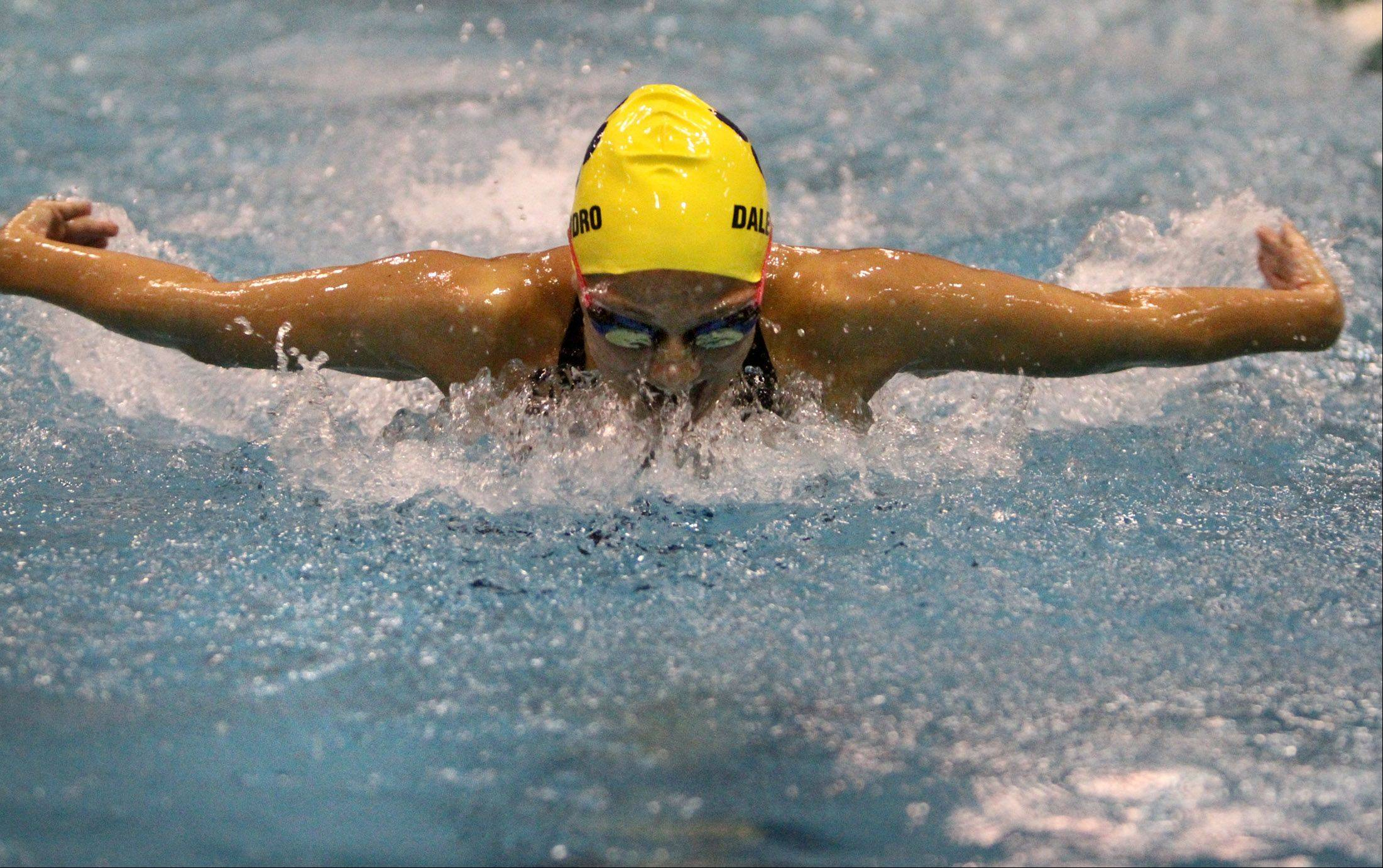 Neuqua Valley's Gia Dalesandro finished second in the 100-yard butterfly with a time of :54.93 in Winnetka on Friday.