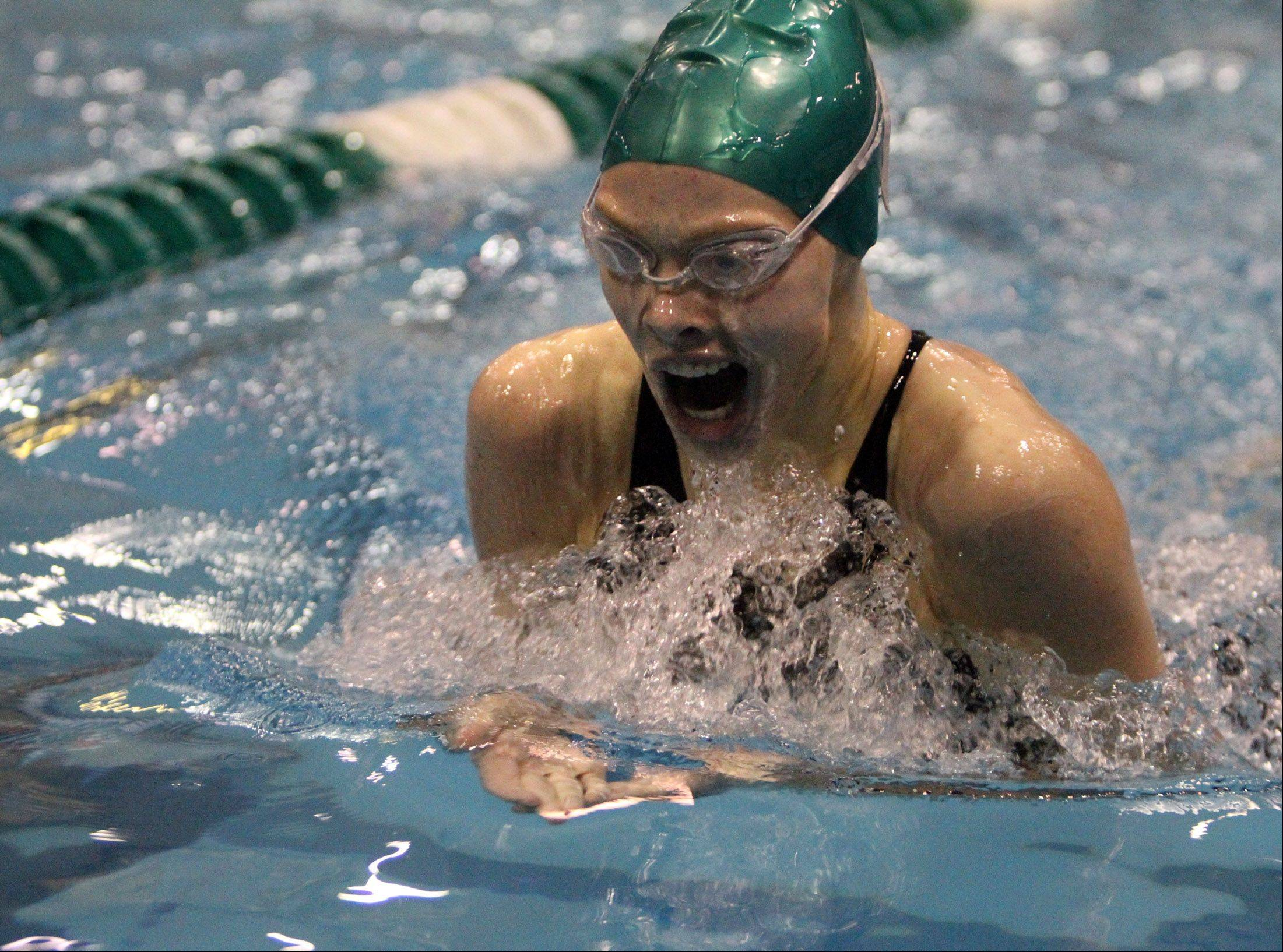 Grayslake Central's Marissa Engel competes in the 200-yard individual medley at IHSA state final preliminaries.