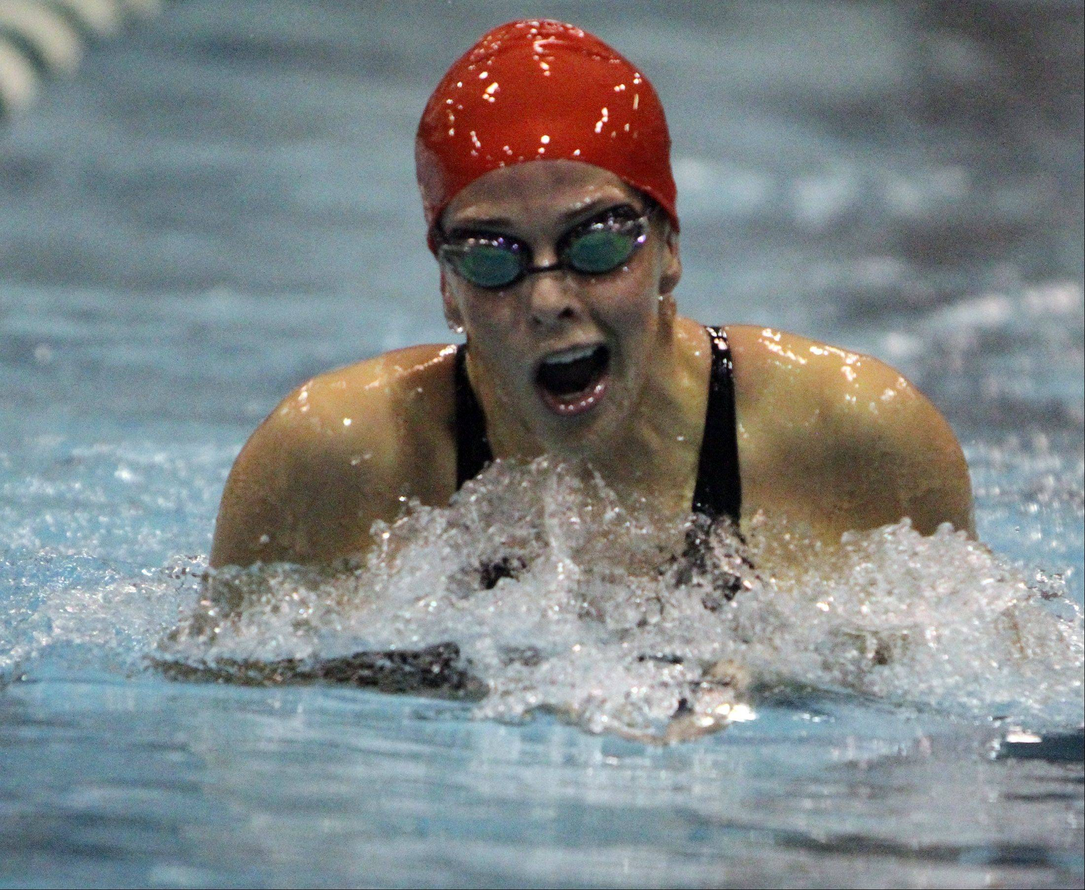 Benet Academy's Katelyn Katsafanas competes in the 200-yard individual medley in Winnetka on Friday.