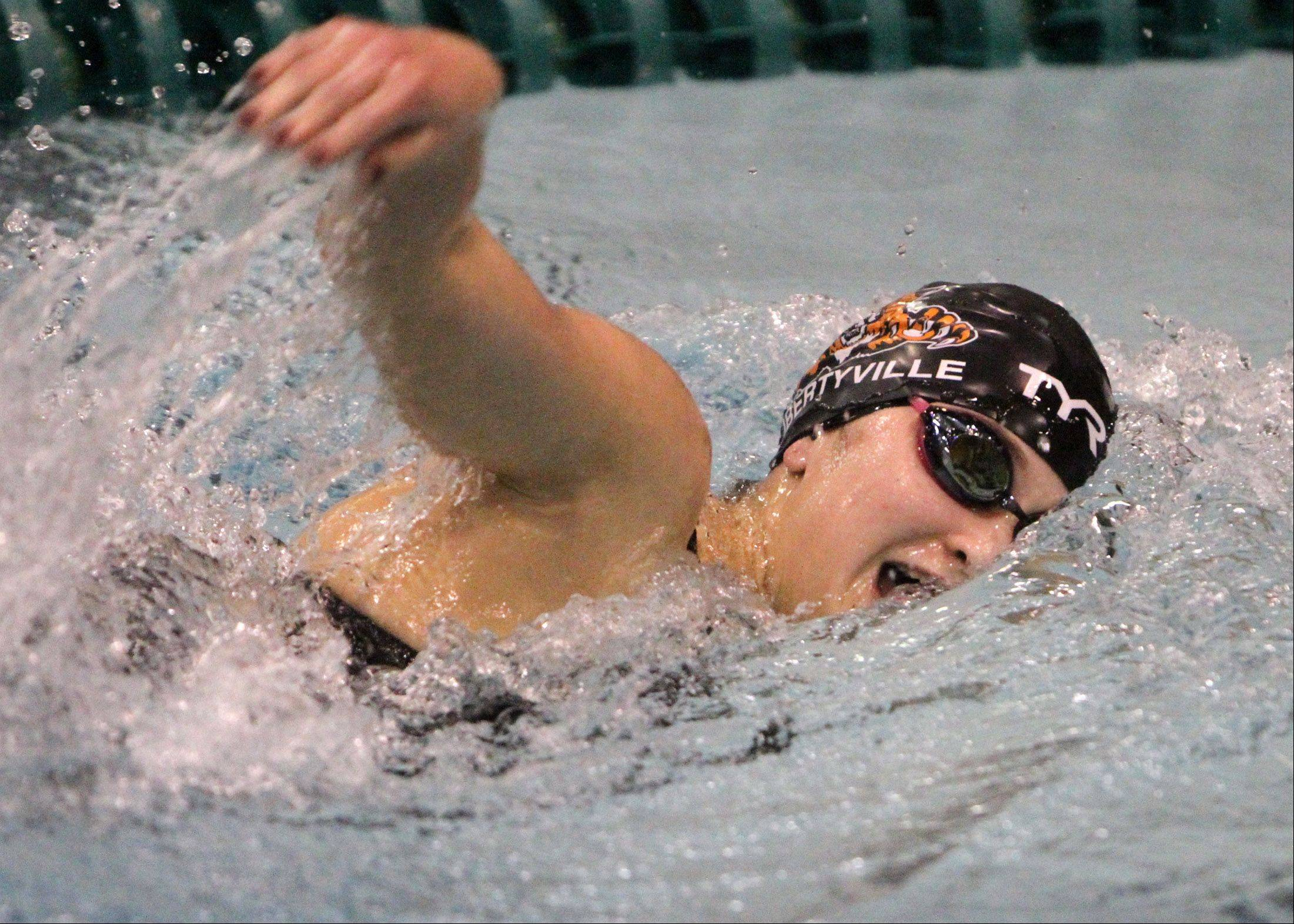 Libertyville's Morgan Dickson finished third in the 500-yard freestyle with a time of 4:55.64 minutes at the IHSA state final preliminaries.