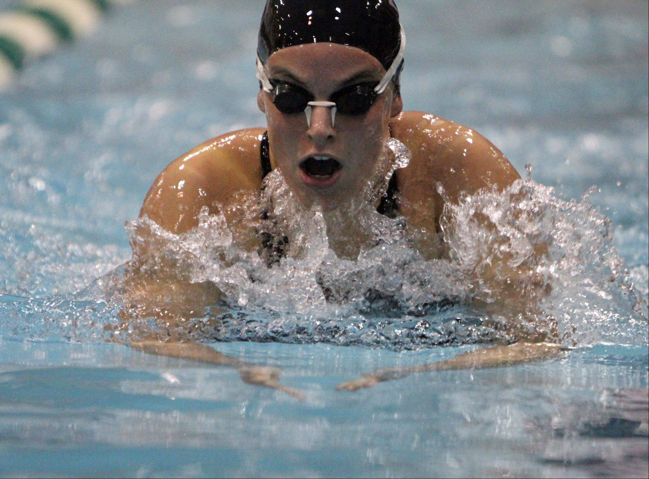 Dundee-Crown's Colleen Champa competes in the 200-yard individual medley at IHSA state final preliminaries in Winnetka on Friday, November 18th.
