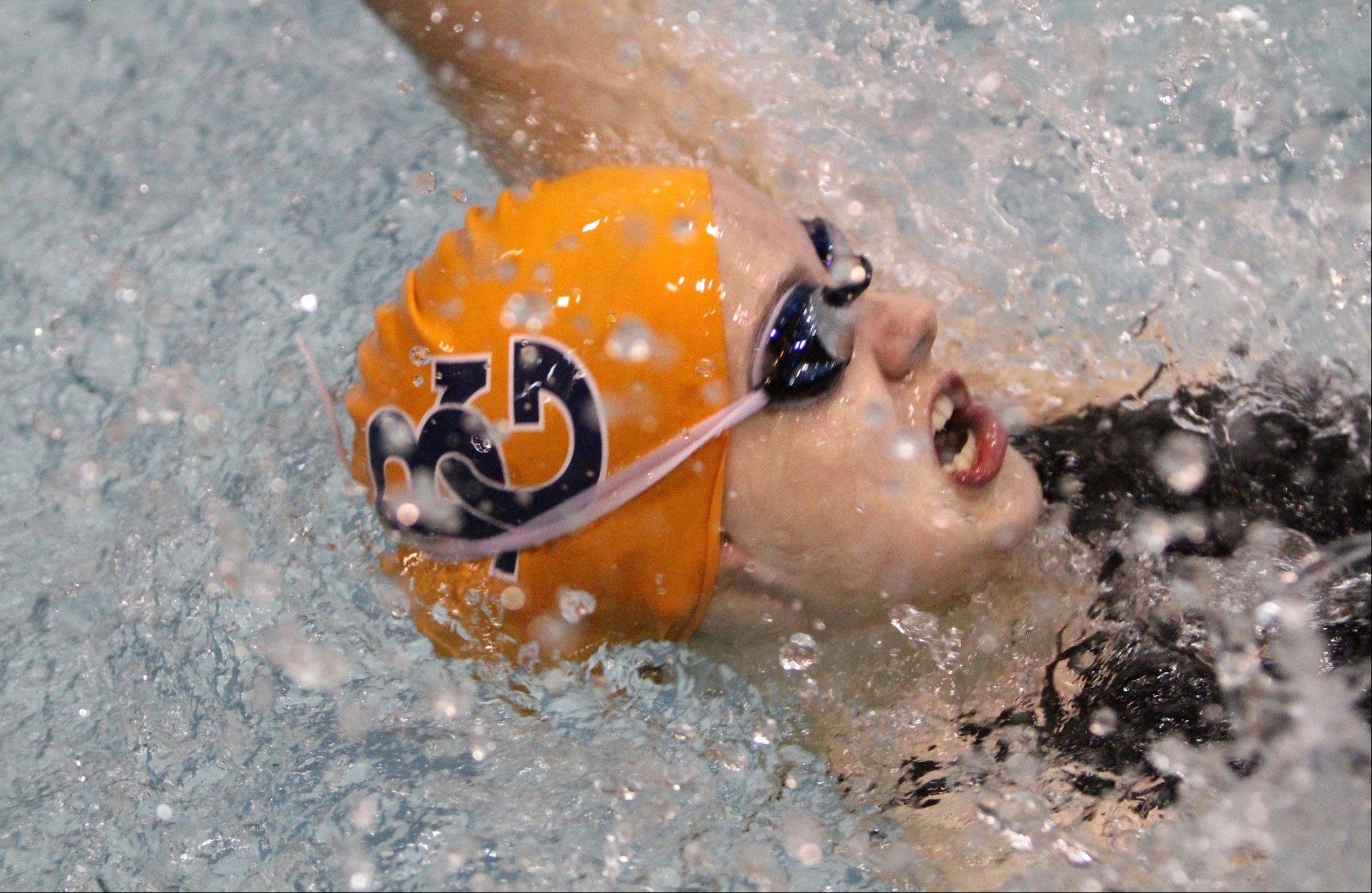 Buffalo Grove's Veronika Jedryka competes in the 100-yard backstroke in Winnetka.