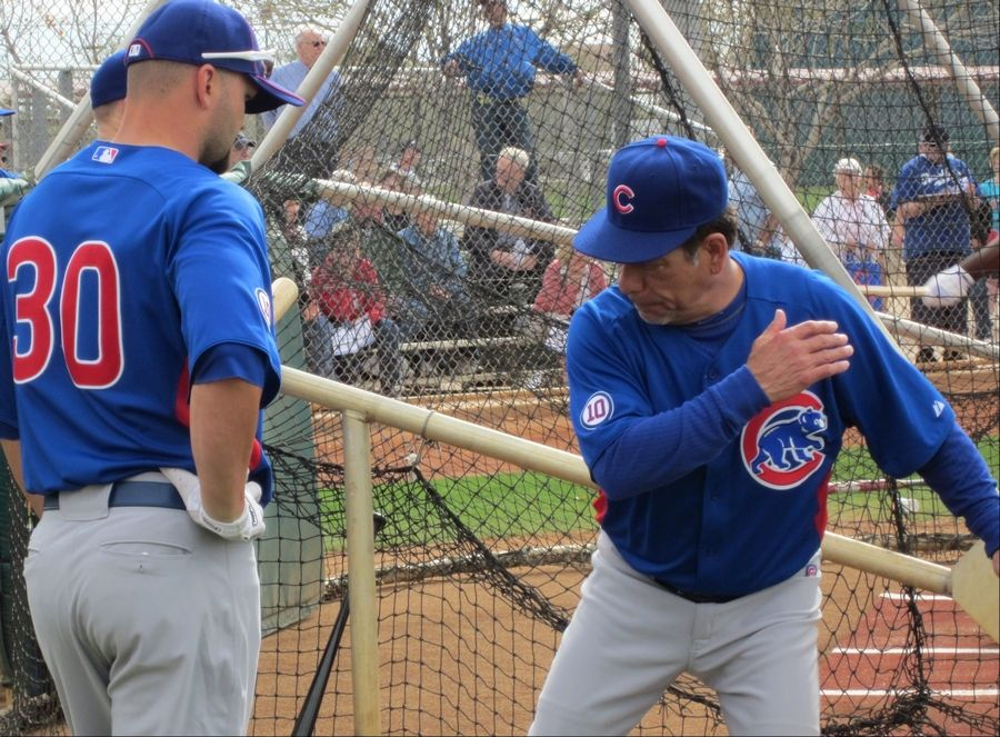"Cubs hitting coach Rudy Jaramillo, right, is one of three coaches still under contract for next season. Cubs officials said new manager Dale Sveum wants to put together a staff that will be ""difference-makers"" for the club."