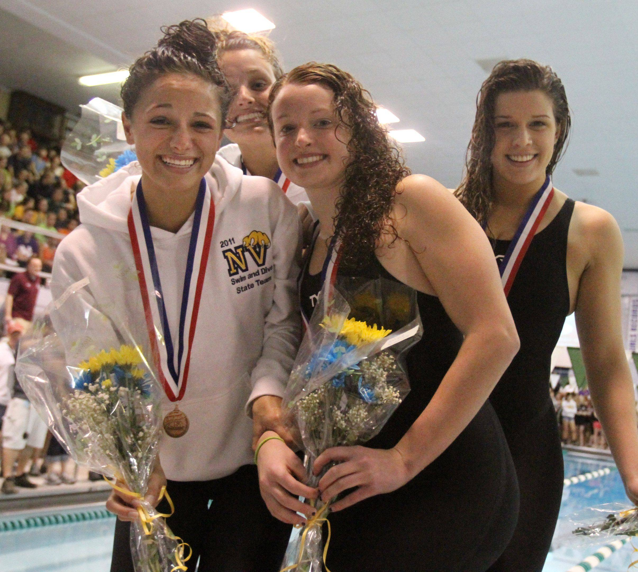 Neuqua Valley's Gia Dalesandro, Courtney Taylor, April Niccolai, and Maggie Maxstadt placed sixth in the 200-yard medley relay at the IHSA state championships in Winnetka on Saturday, November 19th.