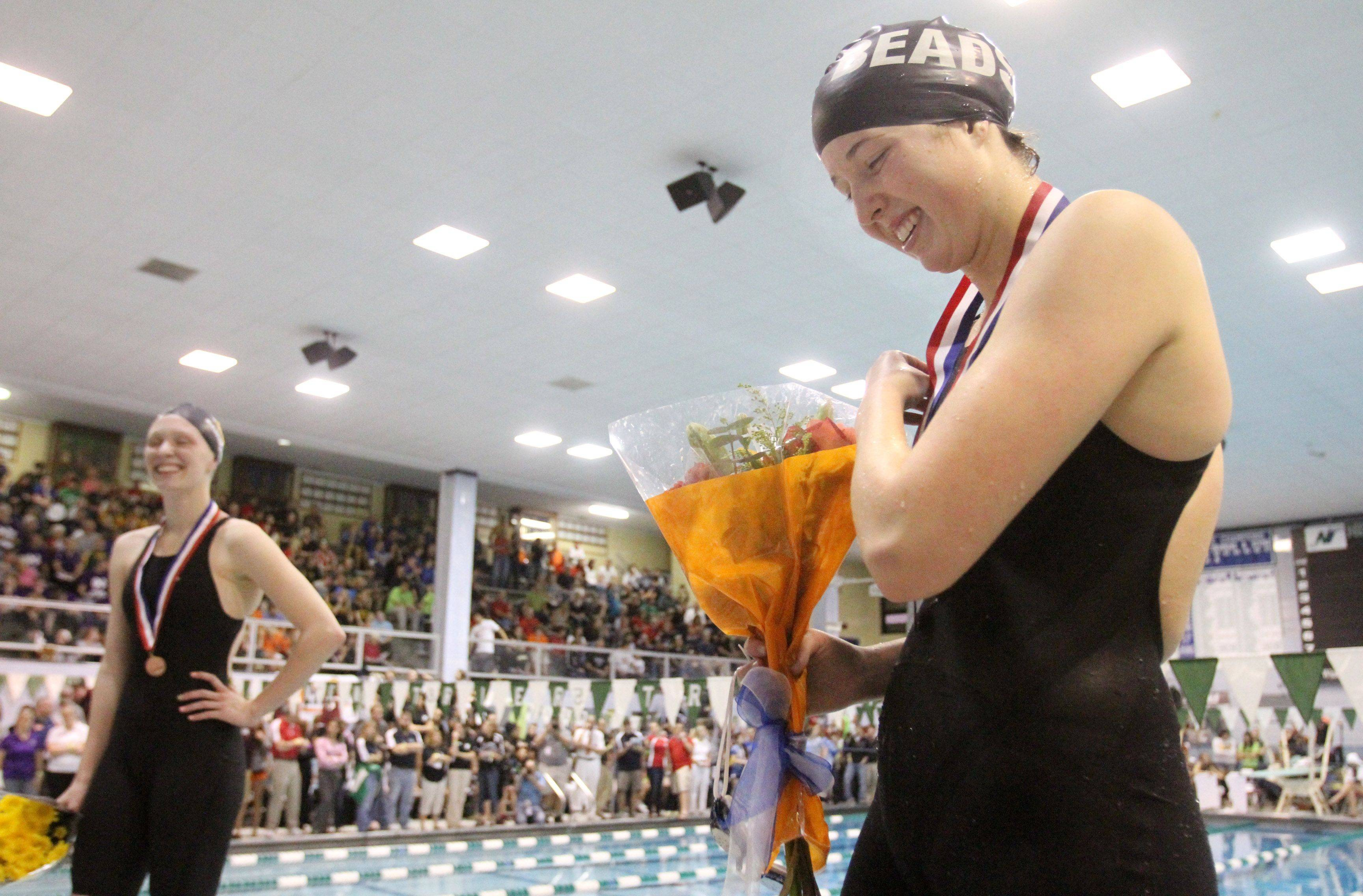 Rosary's Sarah Sykstus placed second in the 200-yard individaul medley at IHSA state championships in Winnetka on Saturday, November 19th.