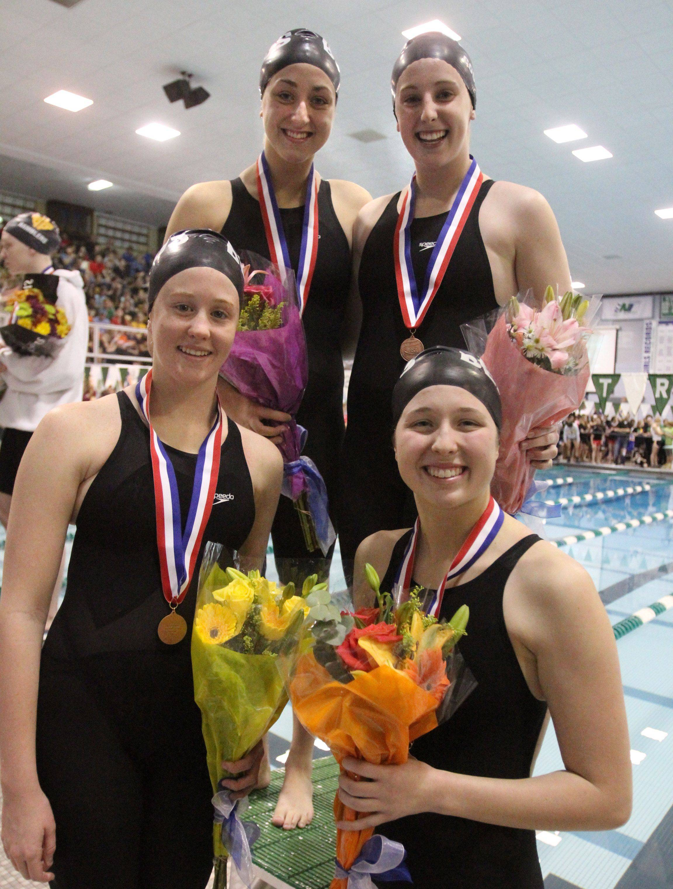 Rosary's Kate Canfield, Molly Coonce, Sarah Sykstus, and Katherin Hare placed fourth in the 200-yard medley relay at the IHSA state championships in Winnetka on Saturday, November 19th.