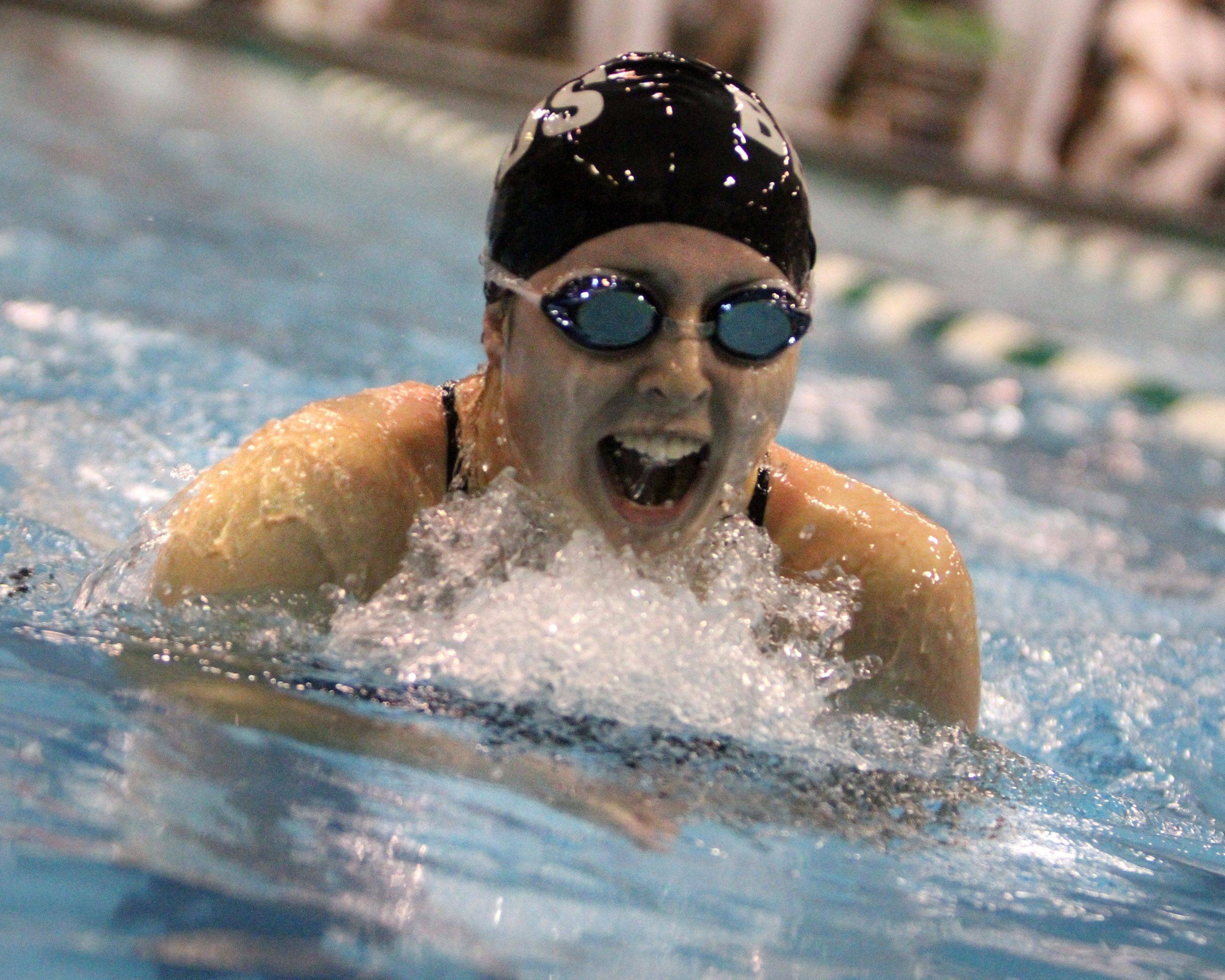 Rosary's Sarah Sykstus placed second in the 200-yard individual medley at IHSA state championships in Winnetka on Saturday, November 19th.