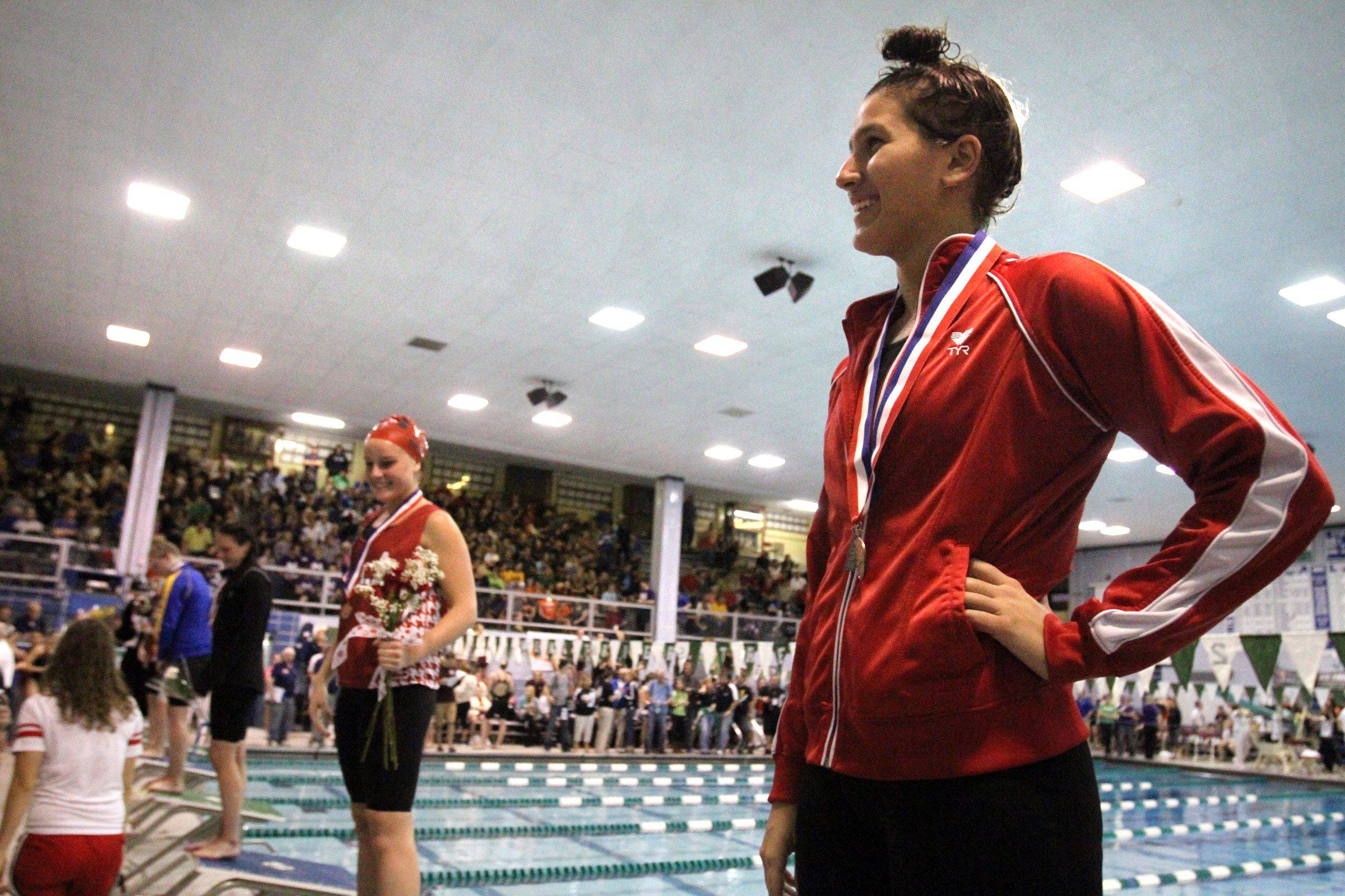 Benet Academy's Cristina Favia placed seventh in the 500-yard freestyle at IHSA state championships in Winnetka on Saturday, November 19th.