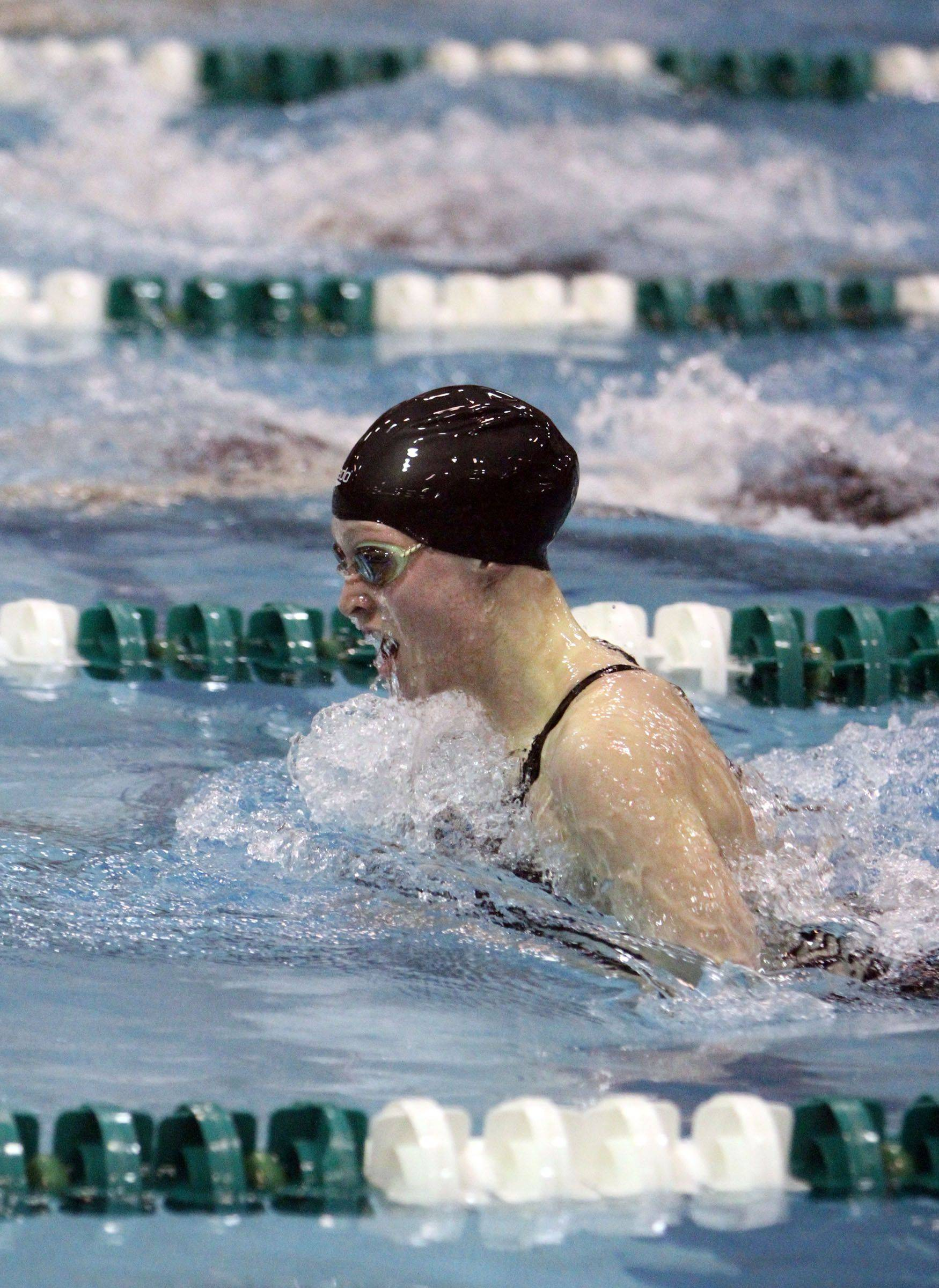 Loyola Academy's Michelle Garland, of Grayslake, finished third in the 100-yard breaststroke at IHSA state championships in Winnetka on Saturday, November 19th.