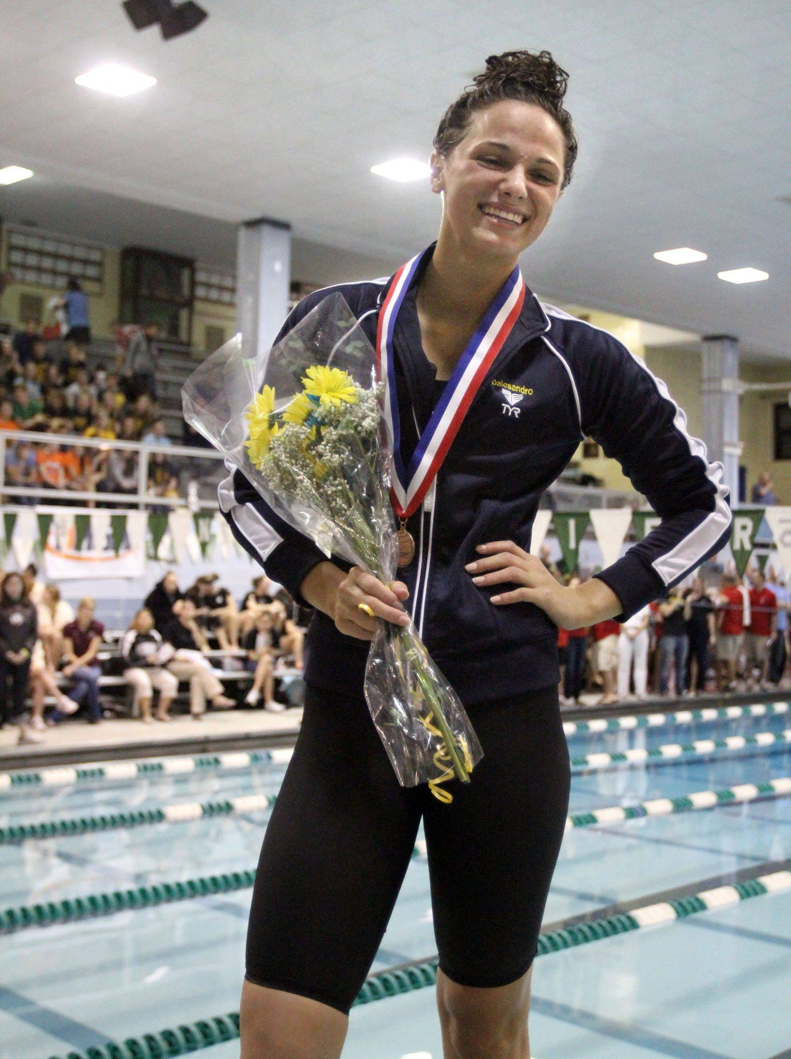 Neuqua Valley's Gia Dalesandro placed fourth in the 100-yard backstroke at IHSA state championships in Winnetka on Saturday, November 19th.