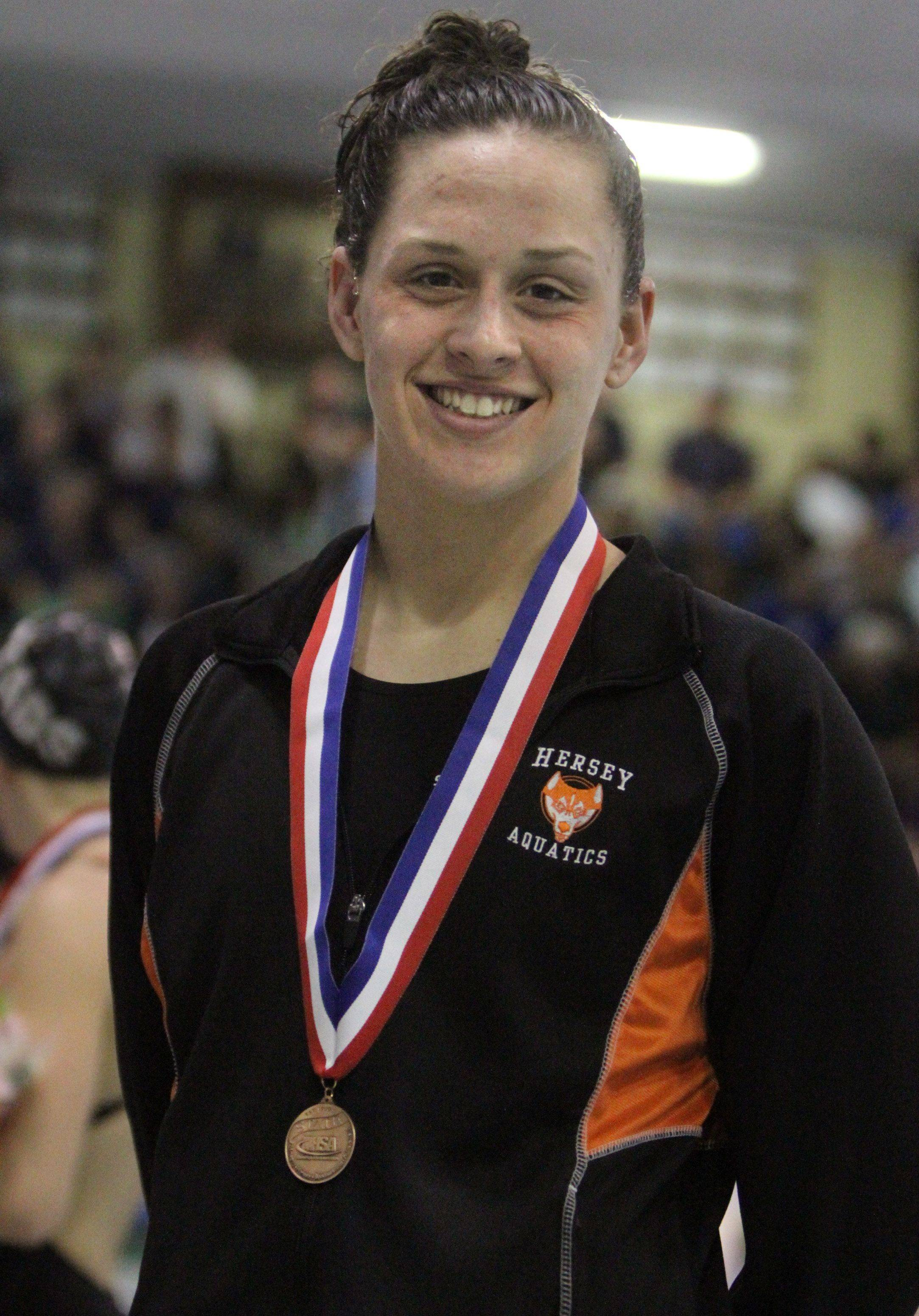 Hersey's Amanda Petro placed ninth in the 200-yard freestyle at the state championships in Winnetka on Saturday.