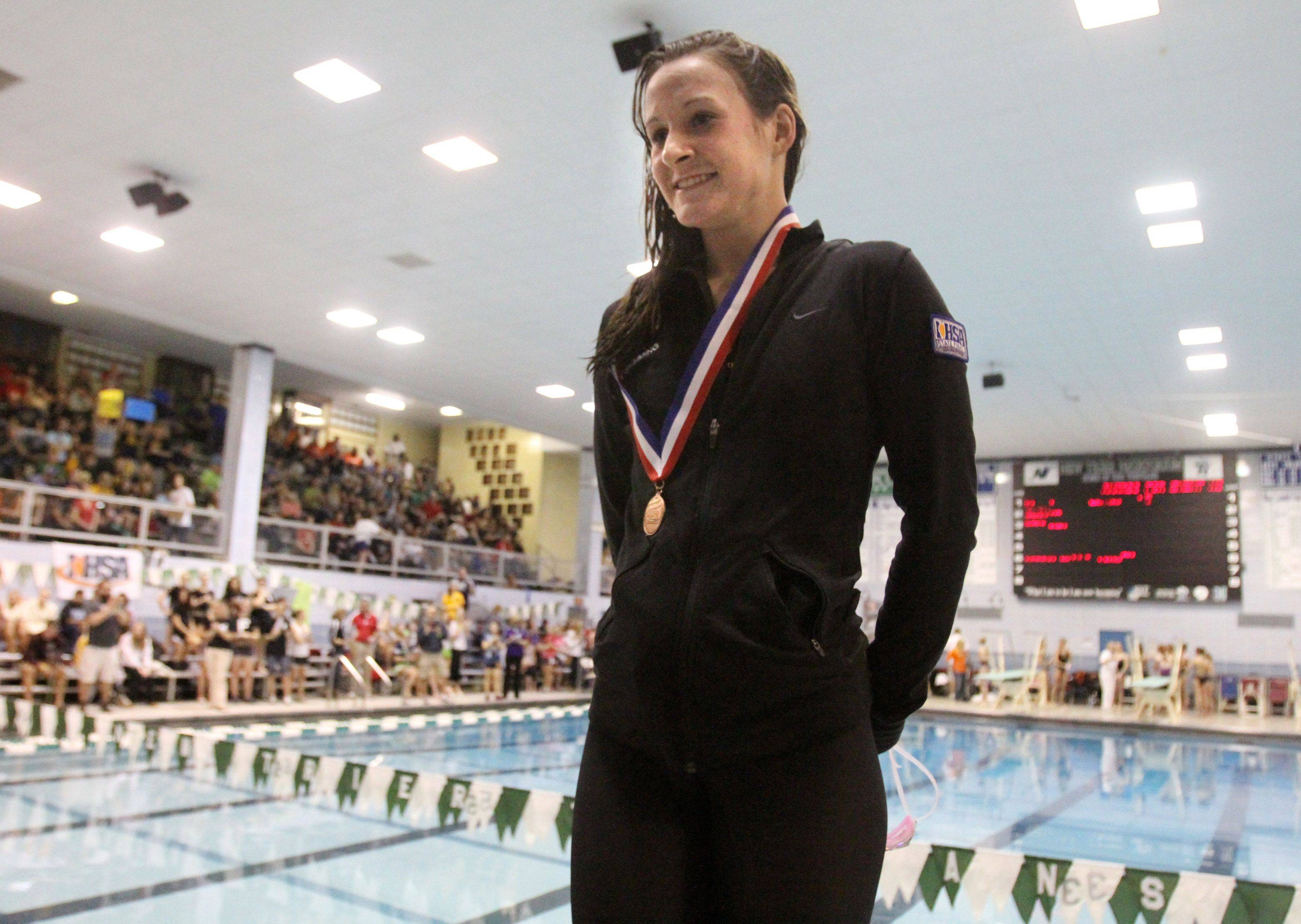 George Leclaire/gleclaire@dailyherald.comCrystal Lake Central-coop's Marisa Barton placed third in the 50-yard freestyle at IHSA state championships in Winnetka on Saturday, November 19th.