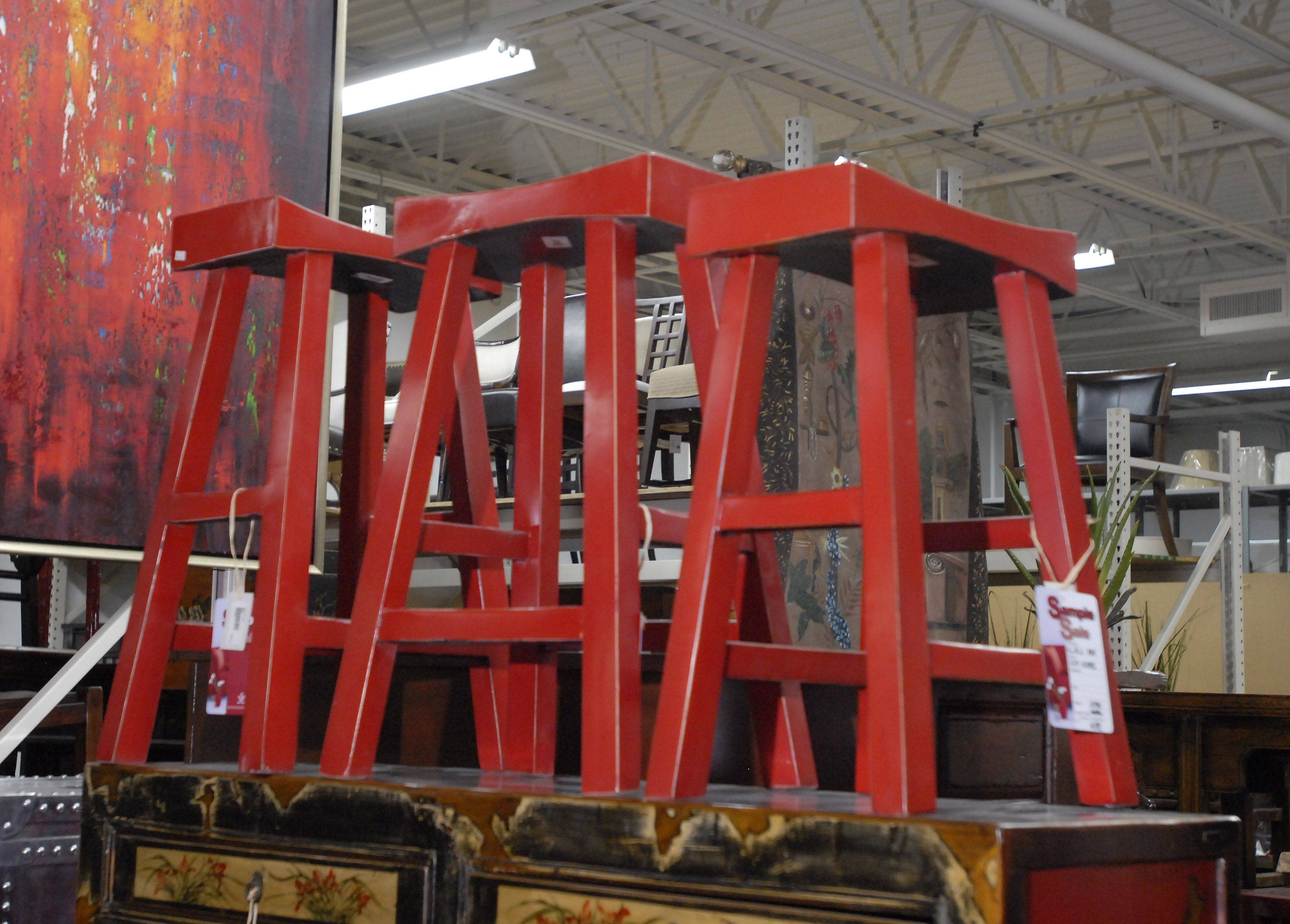 Red stools stand out at the sample sale at C.A.I. Design. Each was $89, down from $298.
